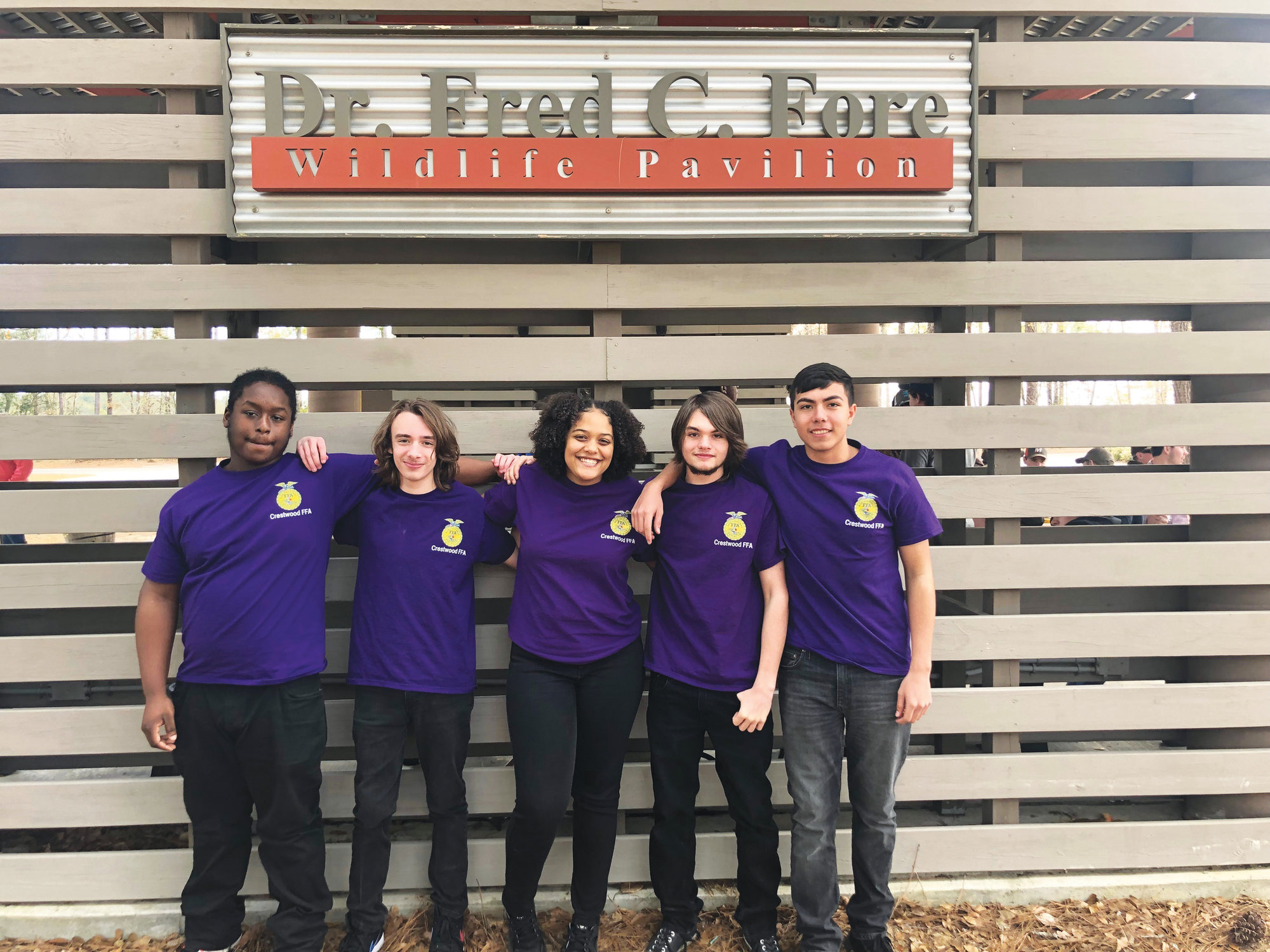 From left, Crestwood Future Farmers of America Jaevin Jacobs, Nathan Clement, Raven Dorio-Howard, Damien Grooms and Guillermo   Vargas are seen.    PHOTO PROVIDED