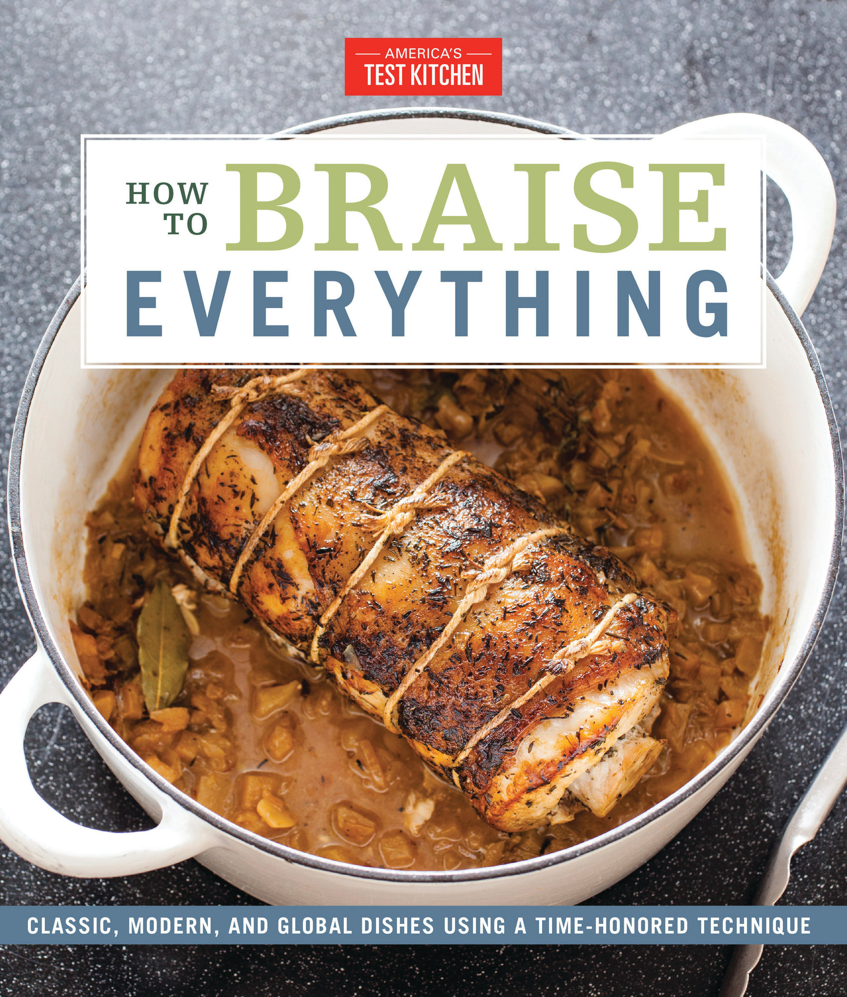 "This image provided by America's Test Kitchen in February 2019 shows the cover for the cookbook ""How to Braise Everything."" It includes a recipe for Garlicky Braised Kale."