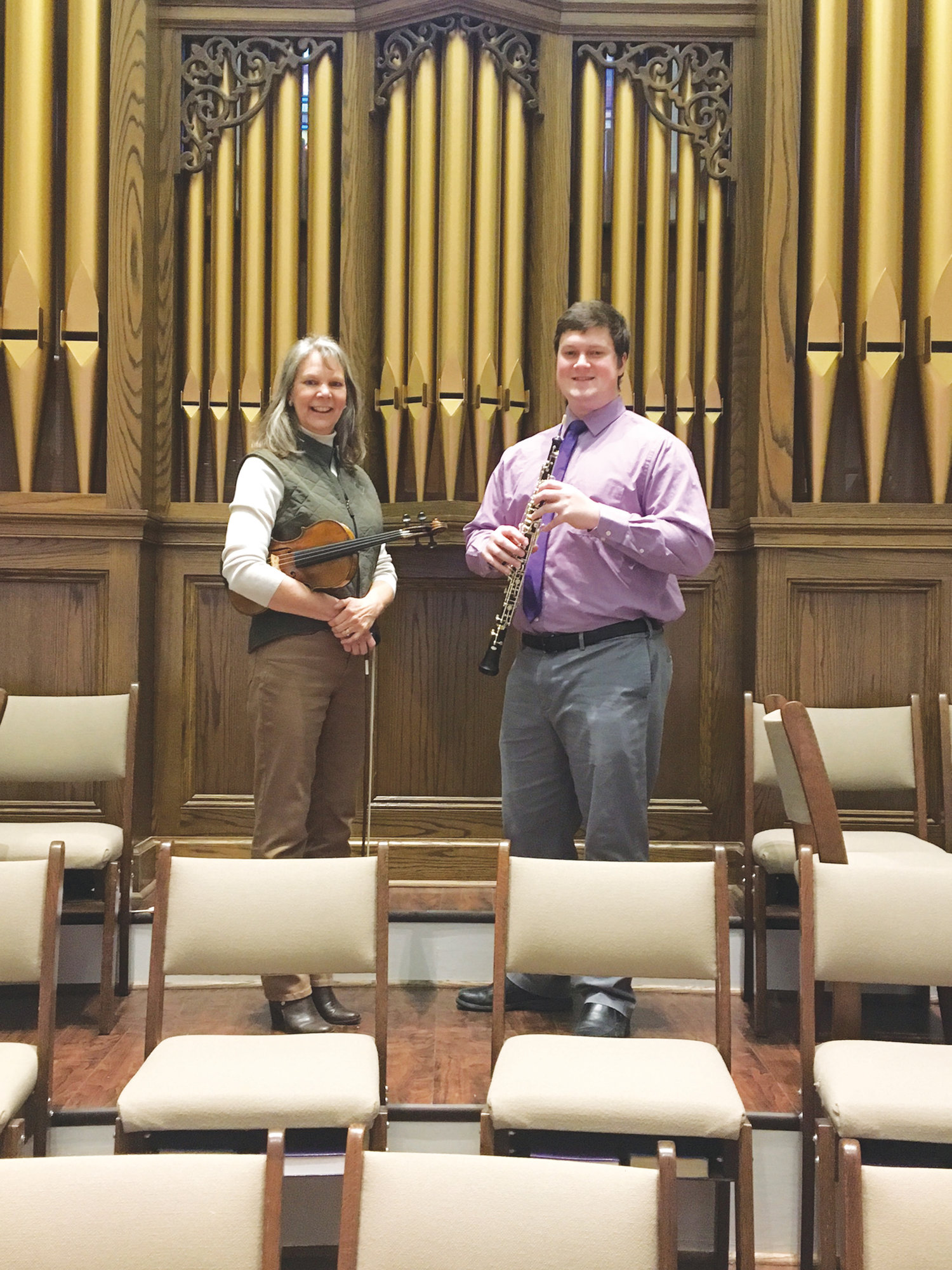 PHOTO PROVIDED  Lauren Decker, violin, and Alex Beaton, oboe, will perform Meditation from Thais and Telemann's Sonata in a minor, respectively, during March 10's An Afternoon of Sacred Music presented by the Woman's Afternoon Music Club at First Presbyterian Church.