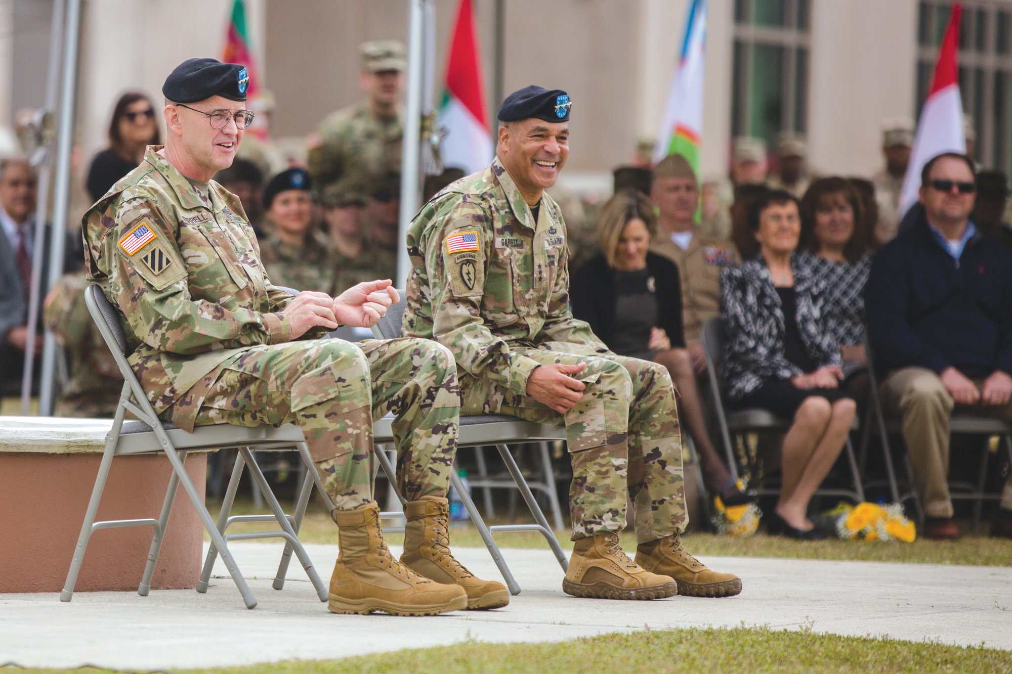 New ARCENT Commander Lt. Gen. Terry Ferrell, left, sits with Lt. Gen. Michael X. Garrett, who relinquished command on Friday at Shaw Air Force Base.