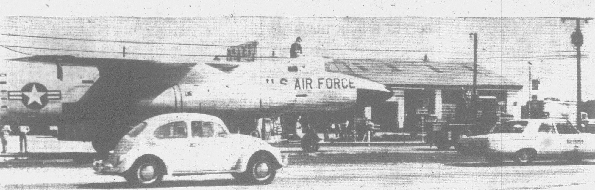 In 1965, the Air Force gave the City of Sumter a decommissioned RB-66 as a memorial. The plane is seen being towed down U.S. Hwy. 76 toward Sumter.