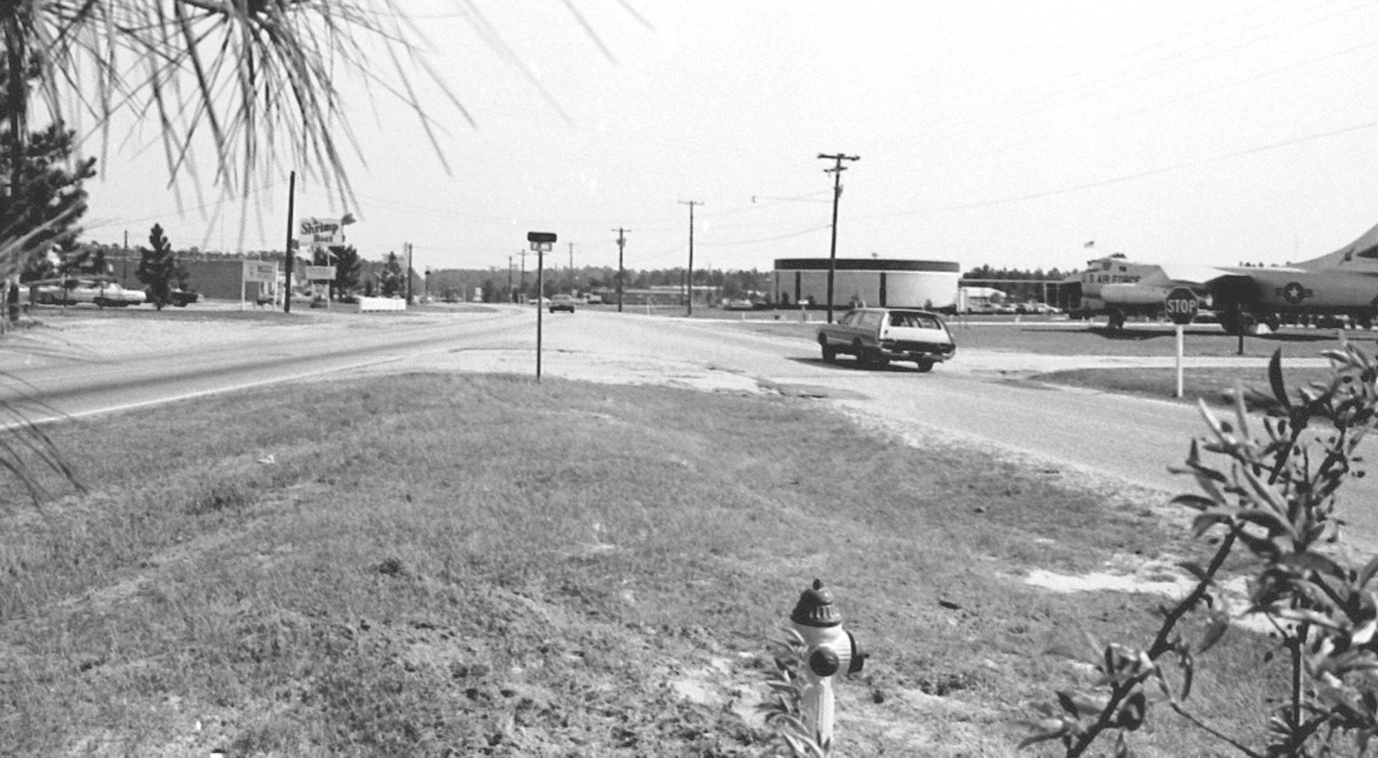 A decommissioned Air Force plane was put on display at Sumter TEC in 1965. This was the original intersection of Bultman and Guignard drives in 1971 with the aircraft seen at far right.