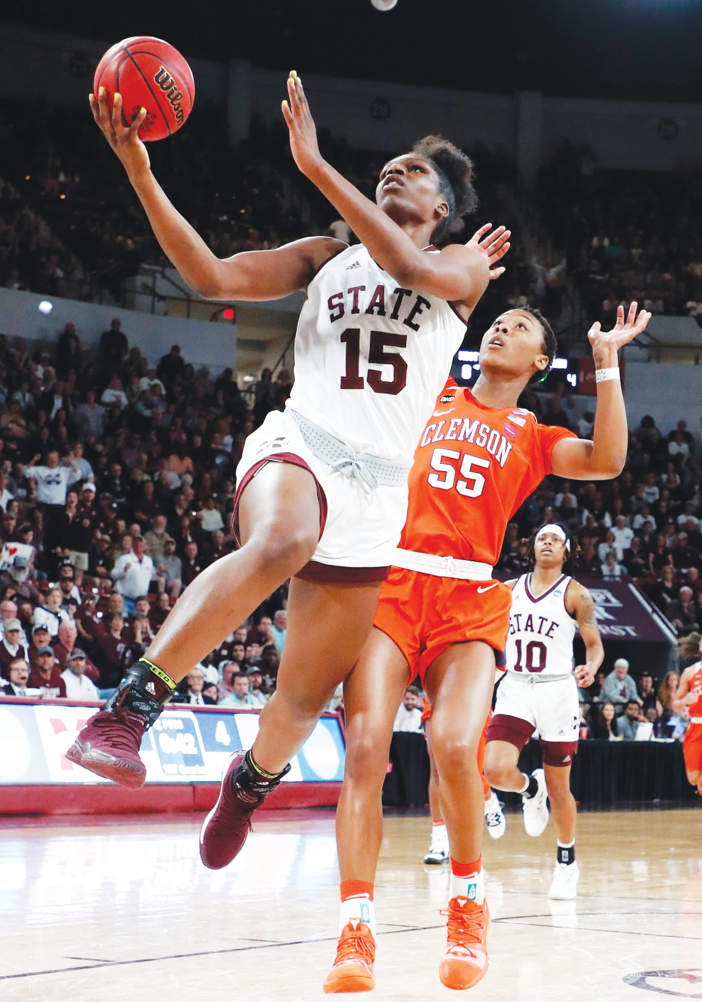 THE ASSOCIATED PRESSMississippi State center Teaira McCowan (15) shoots a layup past Clemson forward Tylar Bennett (55) during the first half of a second-round women's college basketball game in the NCAA Tournament in Starkville, Miss., Sunday, March 24, 2019.