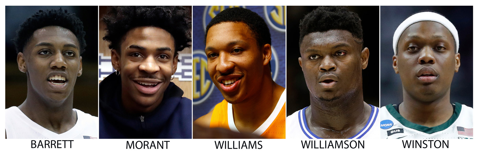 The Associated Press All-America NCAA college basketball first team, announced Tuesday, April 2, 2019. From left are: RJ Barrett, Duke; Ja Morant, Murray State; Grant Williams, Tennessee; Zion Williamson, Duke and Cassius Winston, Michigan State.  (AP Photo/File)