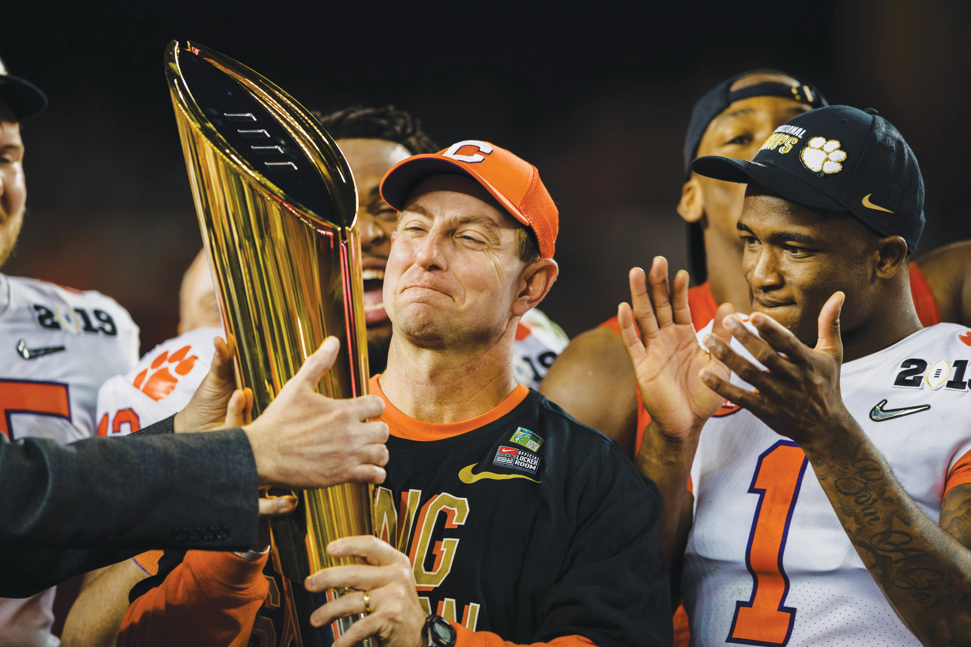 Clemson head coach Dabo Swinney, shown holding the national championship trophy, will be one of the speakers at Prowl & Growl on May 2 at Florence Center in Florence.