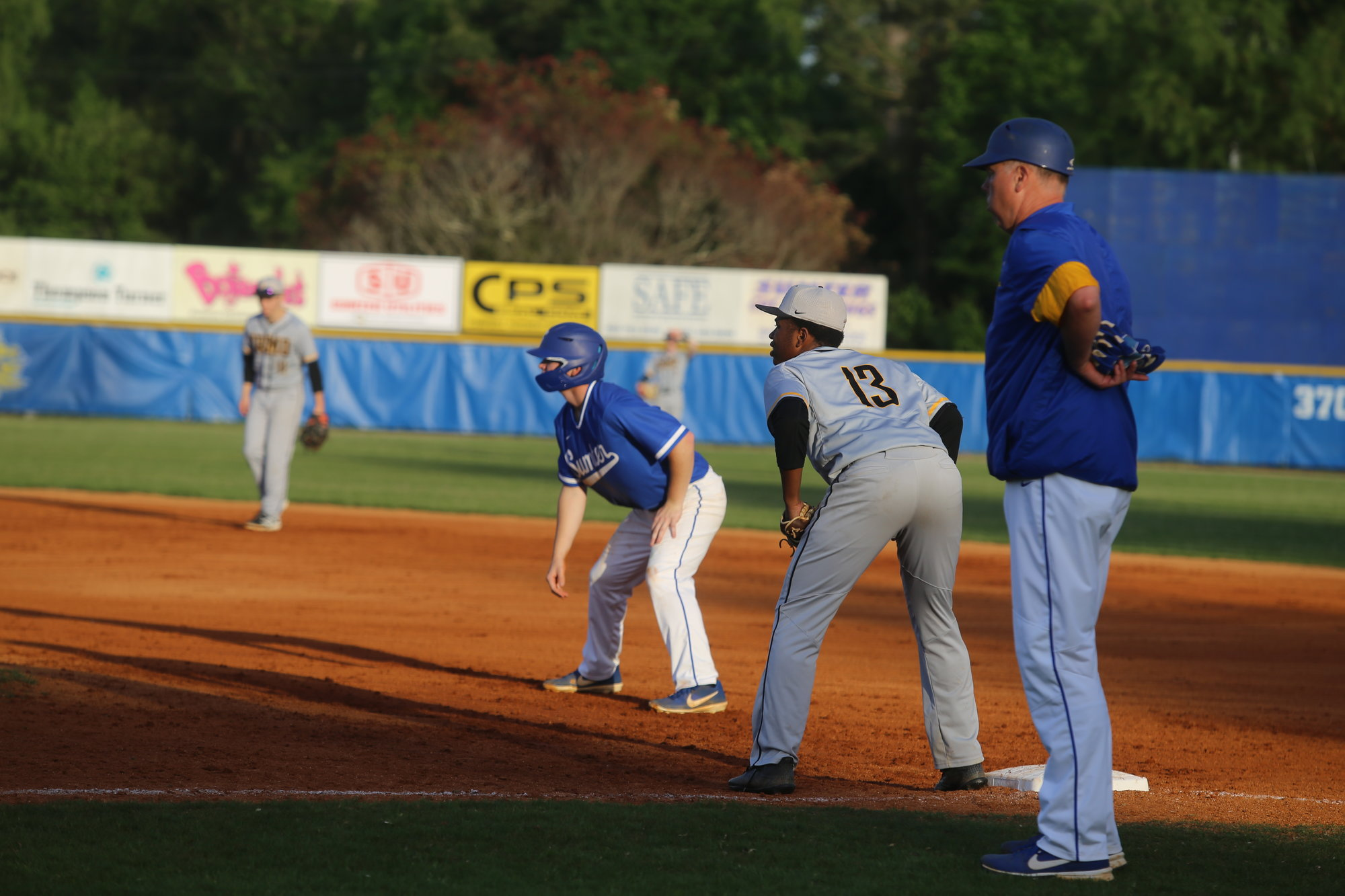 Sumter's Jacob Holladay takes a lead off first base.