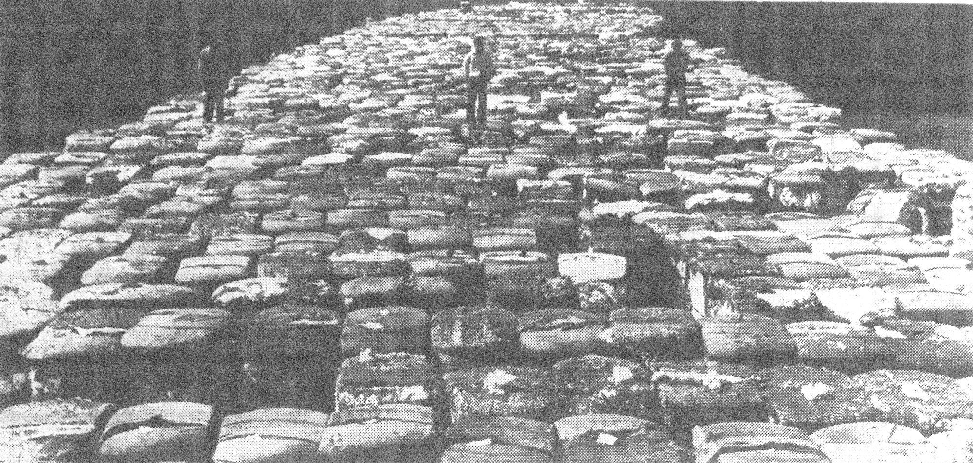 More than 3,000 bales of cotton are seen on the platform of Sumter Cotton Warehouse in 1939, waiting to be shipped by rail or truck. Many more thousands of bales were under the warehouse sheds.
