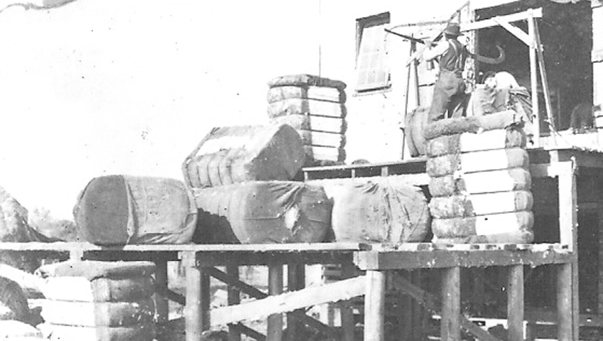 Cotton is stacked on a platform in Sumter.