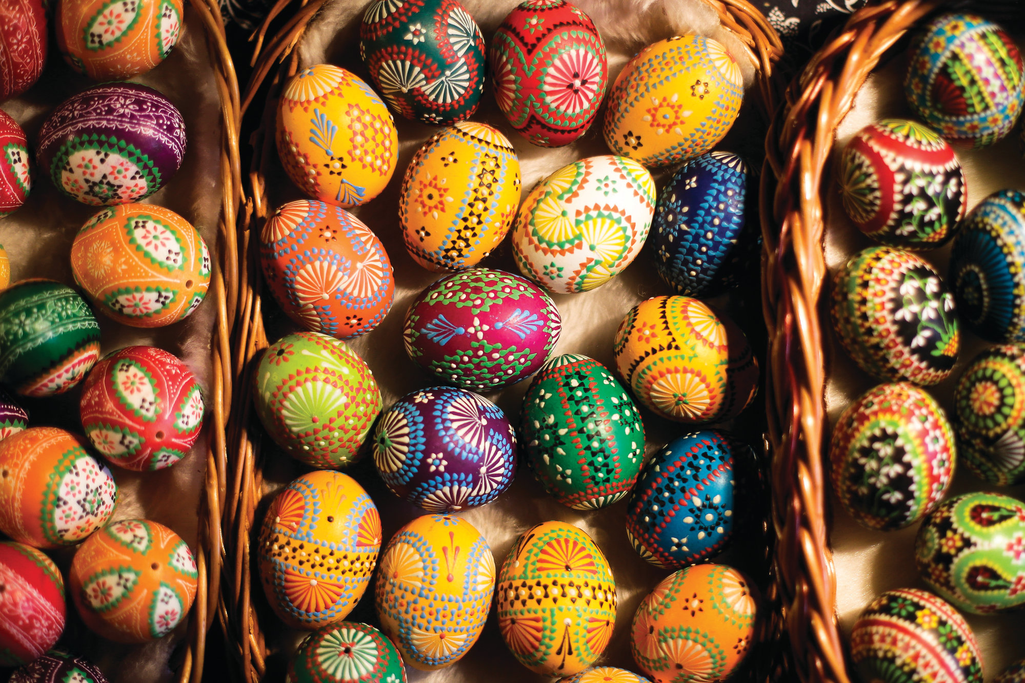 Easter eggs are seen at a traditional Easter Market of Germany's Sorb minority in the village Neuwiese, near the city of Hoyerswerda in east Germany, on April 14. A tiny Slavic minority in Germany is keeping alive a long and intricate tradition of hand-painting Easter eggs with the help of knives, feathers and wax.