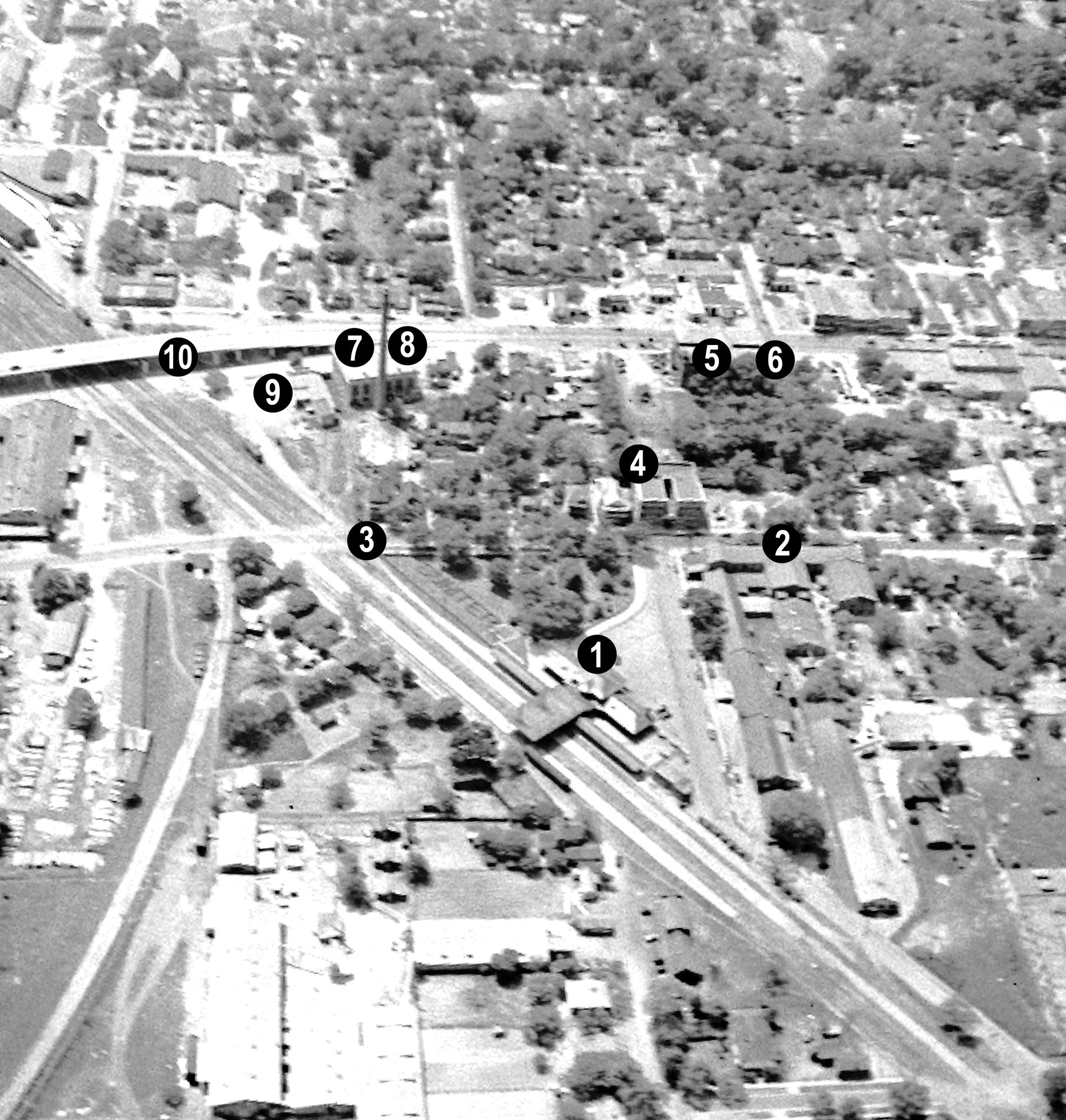 This aerial photo shows parts of Sumter in 1942. Some of these locations have been torn down or have burned since then.