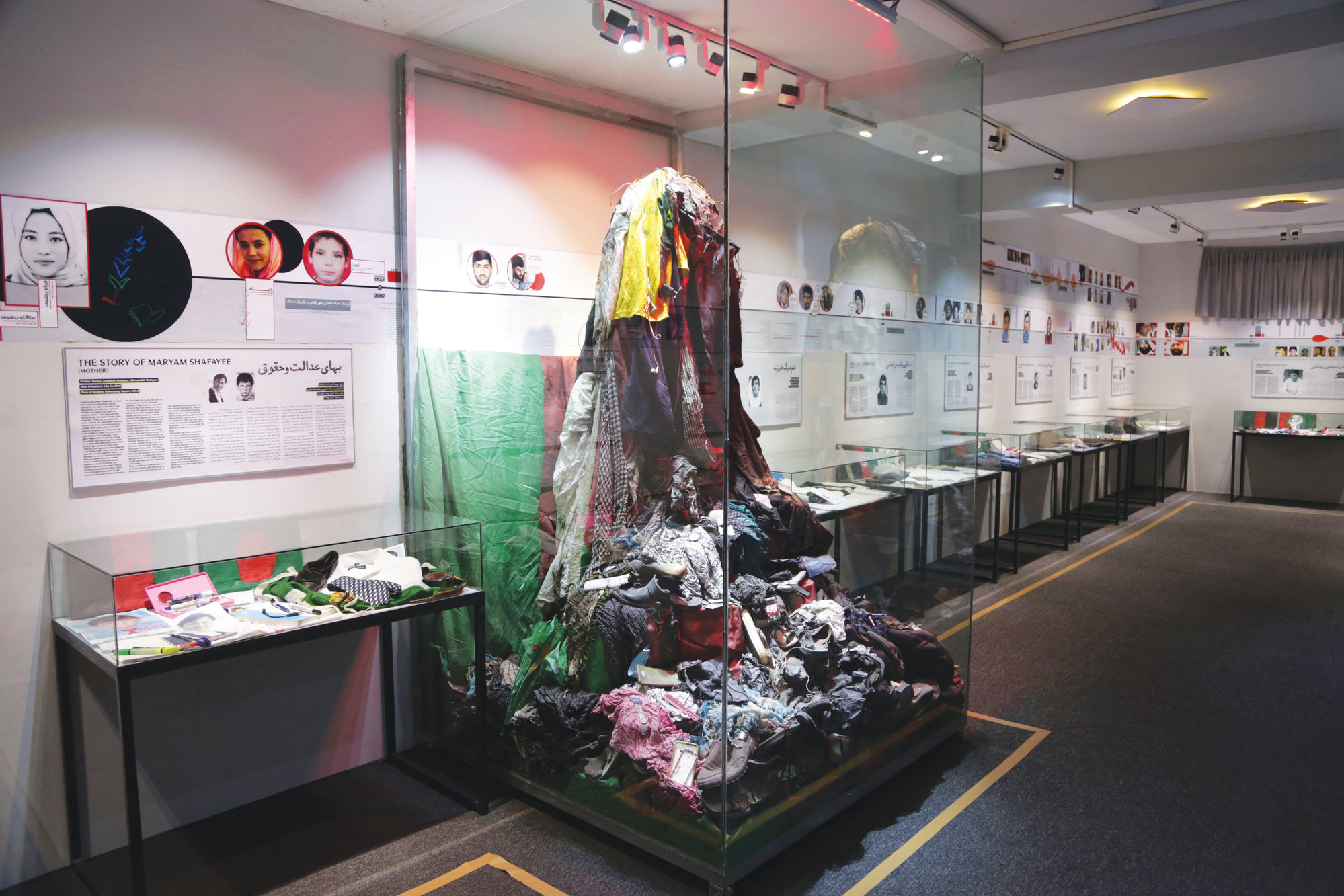 Belongings of war victims are displayed in the Afghanistan Center for Memory and Dialogue.