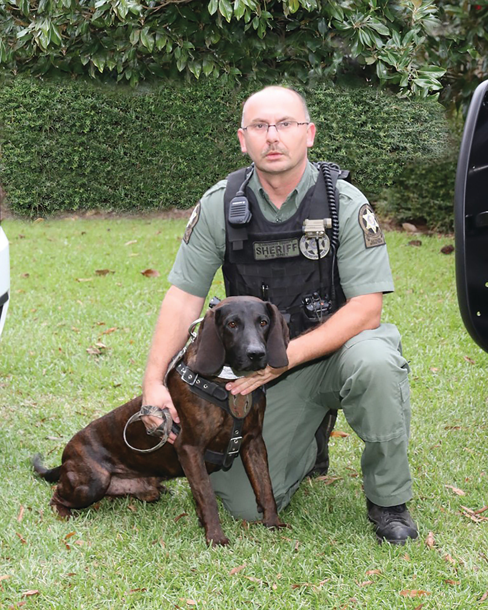 Clarendon County K-9 Handler Ernie Grice works with K-9 Holmes, who is named in memory of the late Clarendon County Sheriff's Office Inv. Holmes N. Smith Jr., who died in the line of duty in 2014.