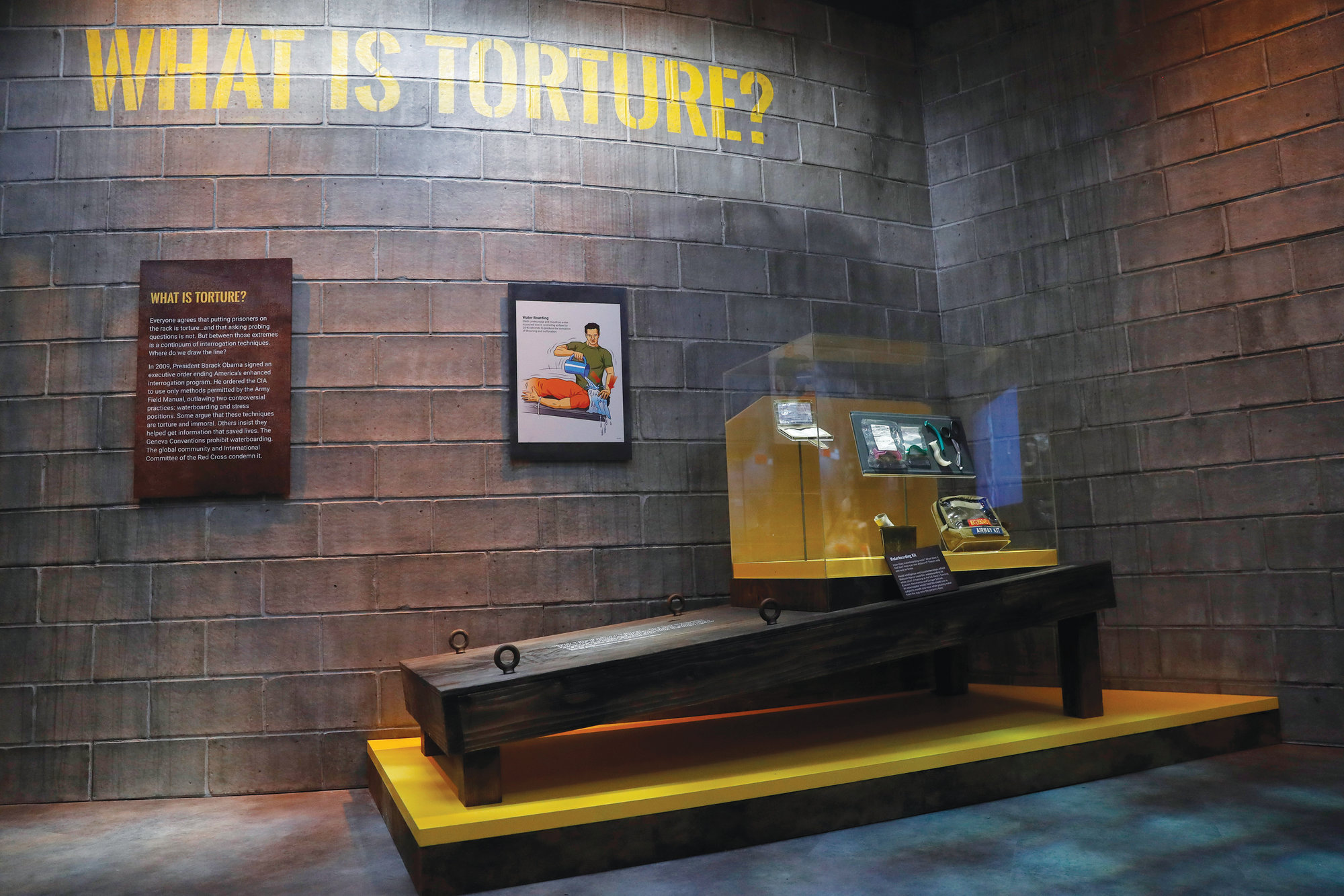 An exhibit on torture includes a section on waterboarding in the new International Spy Museum in Washington.