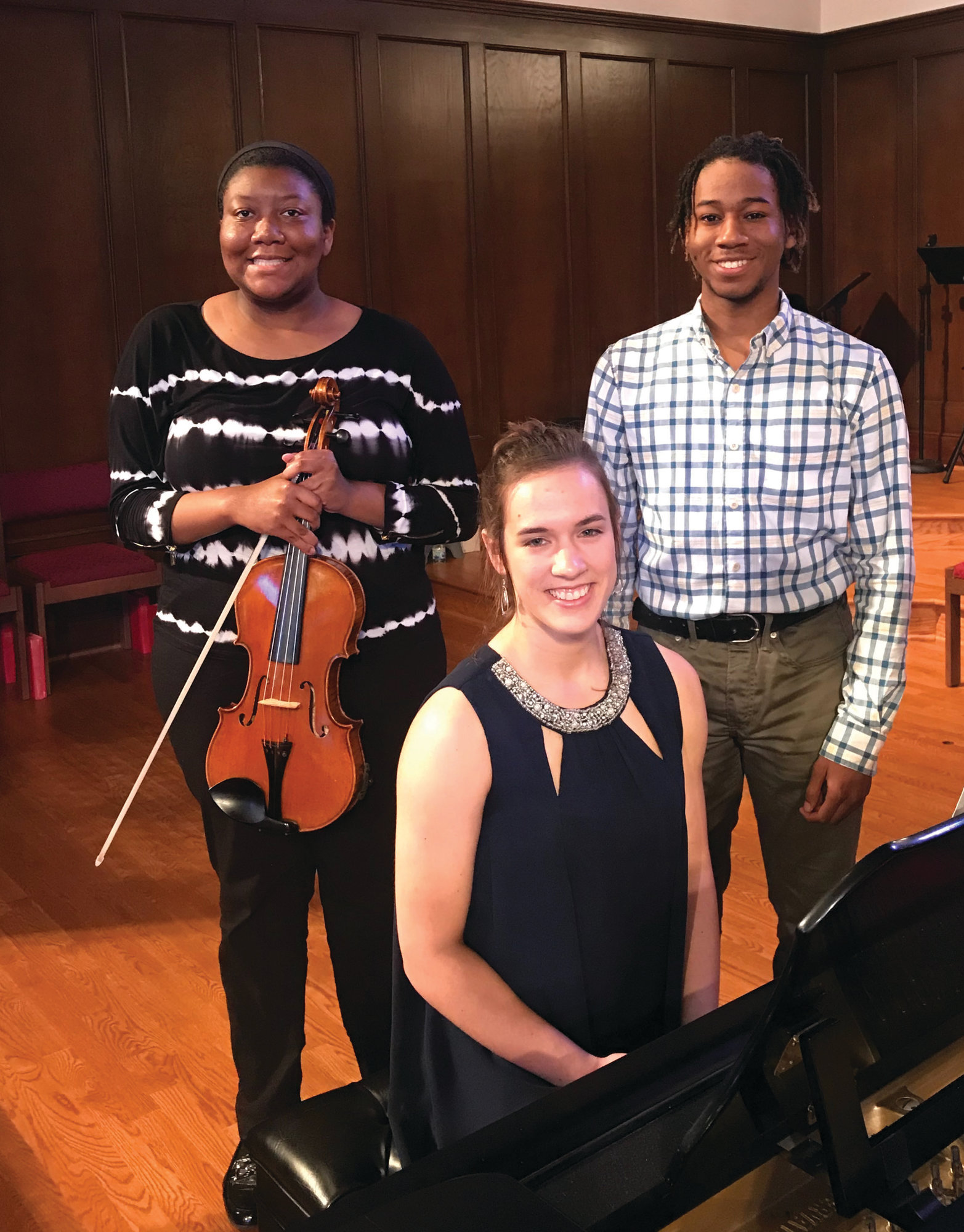 PHOTO PROVIDED  Winners of the 2019 Woman's Afternoon Music Club scholarships are, from left: Deja Lint, Susanna Hutson and Josiah Johnson. Each received a $500 scholarship to further his or her music studies.