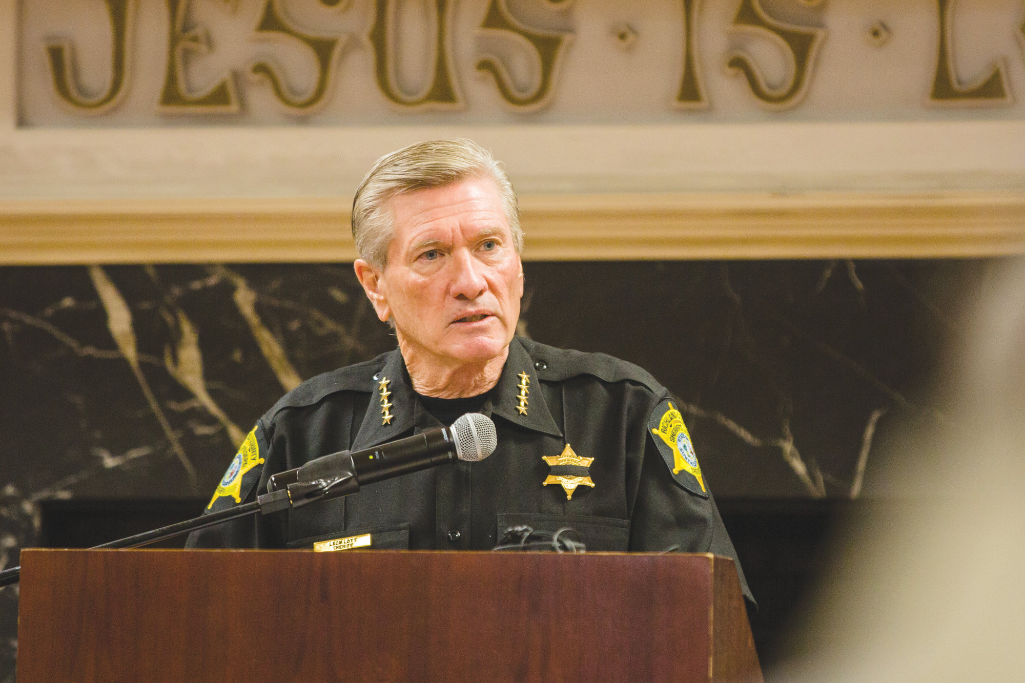 Sheriff Leon Lott with the Richland County Sheriff's Department speaks at the breakfast.