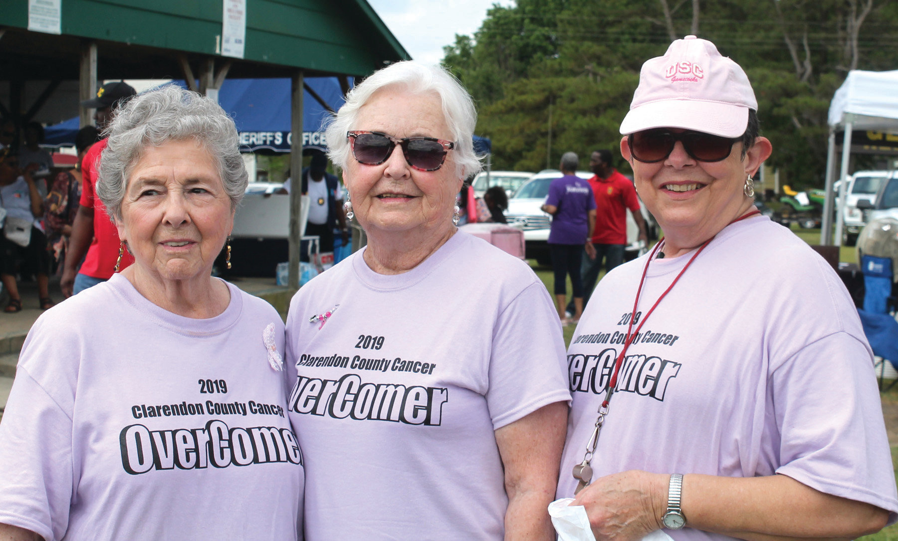 Sharon Cramer, Annette Browder and Judy Gamble Hooks were three of the almost 75 Cancer OverComers who participated in the May 4 Clarendon County Cancer OverComers'  Walk held at the J.C. Britton Park. The lavender OverComer T-shirts were given free to every OverComer who filled out a registration form. The T-shirts were paid for through the generosity of  local businesses, organizations, school districts and individuals.