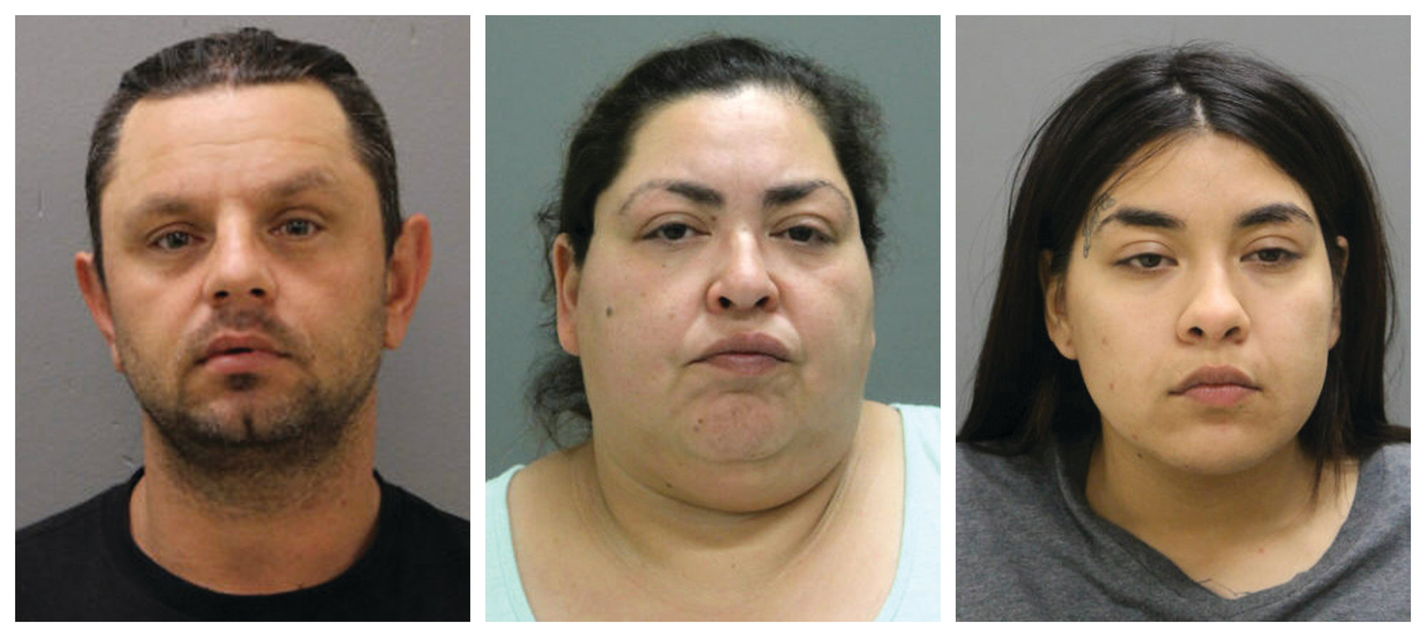 This combination of booking photos provided by the Chicago Police Department on May 16, 2019, shows from left, Pioter Bobak, 40; Clarisa Figueroa, 46; and Desiree Figueroa, 24. Charges against them come three weeks after 19-year-old Marlen Ochoa-Lopez disappeared and a day after her body was discovered in a garbage can in the backyard of Clarissa Figueroa's home in Chicago's Southwest Side.