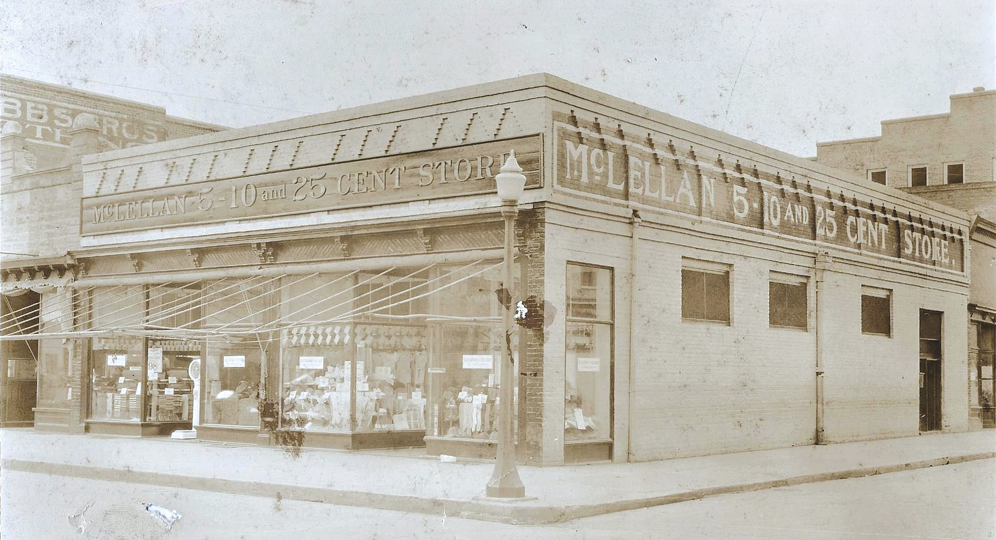 The original McLellan's 5-10-25 Cent Store is seen on the corner of Main and Liberty Streets in the 1930s.
