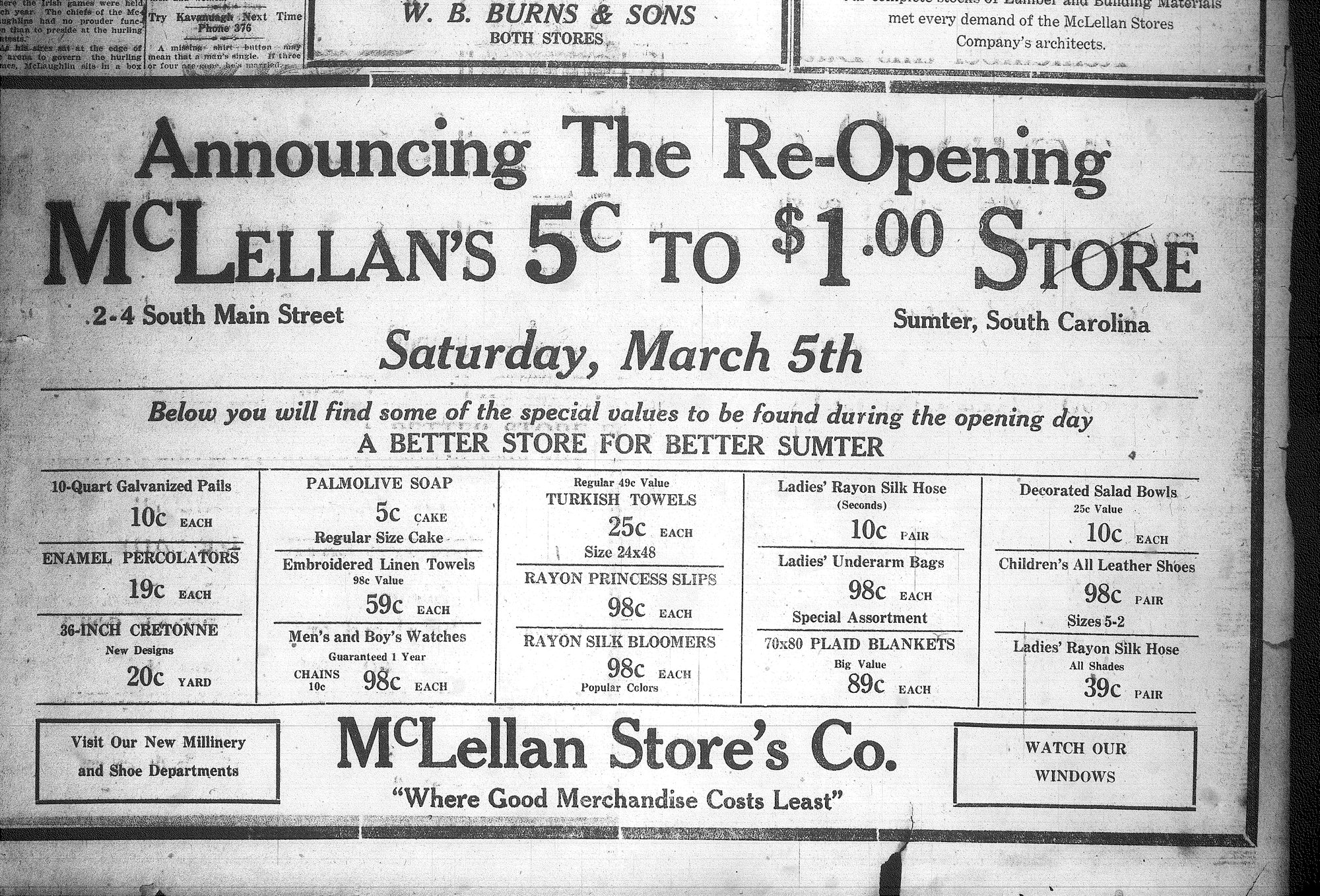An ad for McLellan's reopening is seen in a newspaper in 1927.