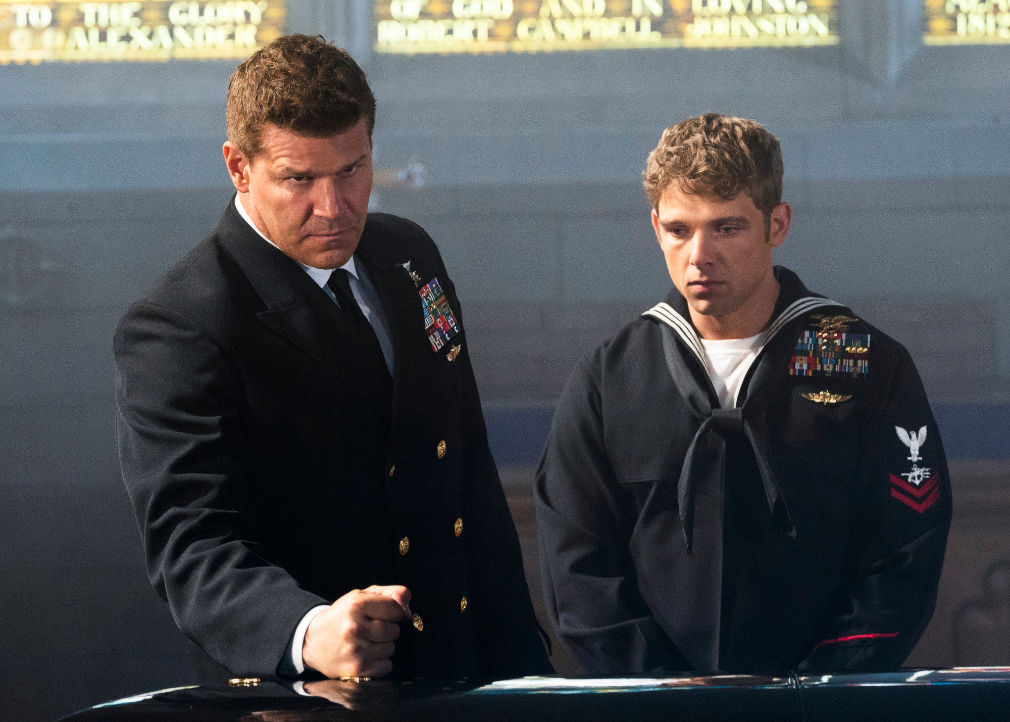 "David Boreanaz stars as Jason Hayes, left, and Max Thieriot as Clay Spenser in the ""Never Out of the Fight"" season two finale episode of ""SEAL Team,"" airing at 10 p.m. today on CBS."
