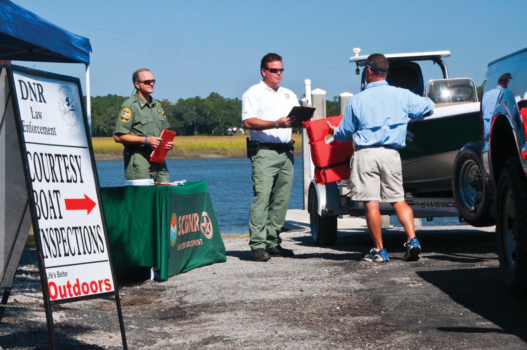 PHOTO PROVIDED BY SCDNR  From 10 a.m. to noon Monday, South Carolina Department of Natural Resources officers will conduct a courtesy boat inspection checkpoint at Alex Harvin Landing.