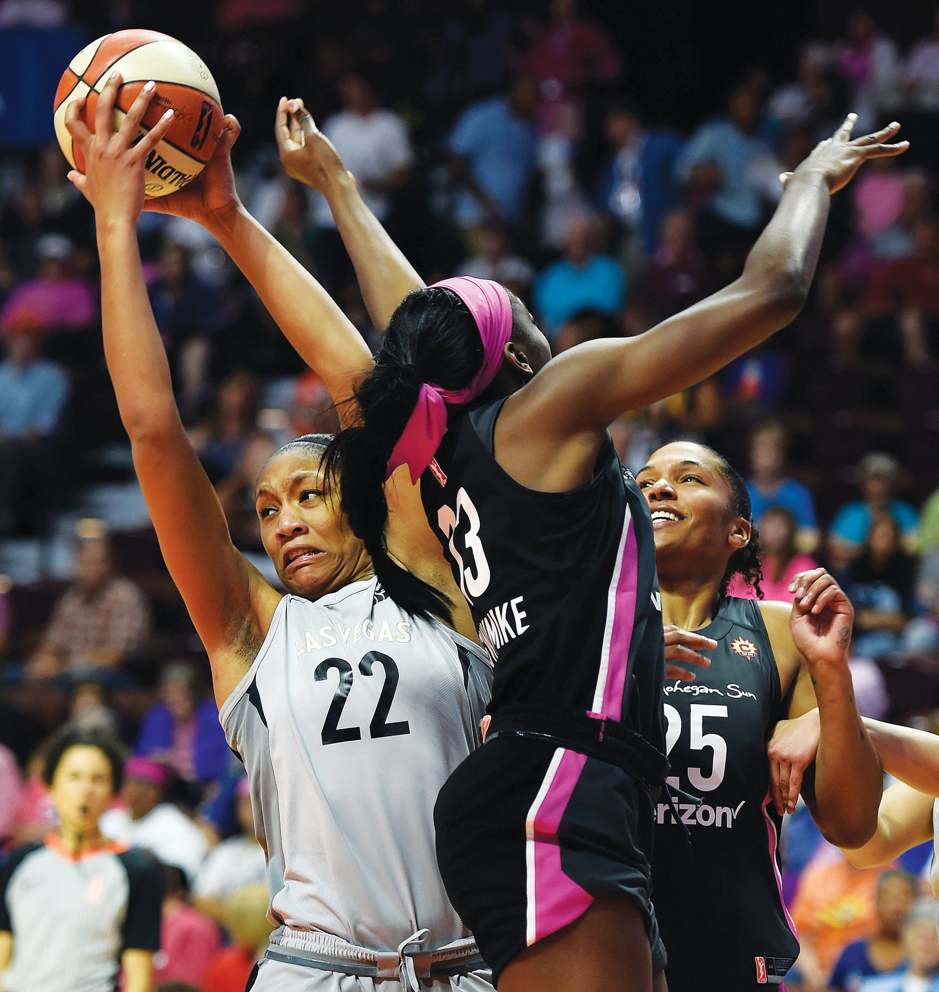 Former South Carolina standout and Las Vegas forward A'ja Wilson (22) will try to build on her WNBA Rookie of the Year season when the WNBA begins play on Friday.
