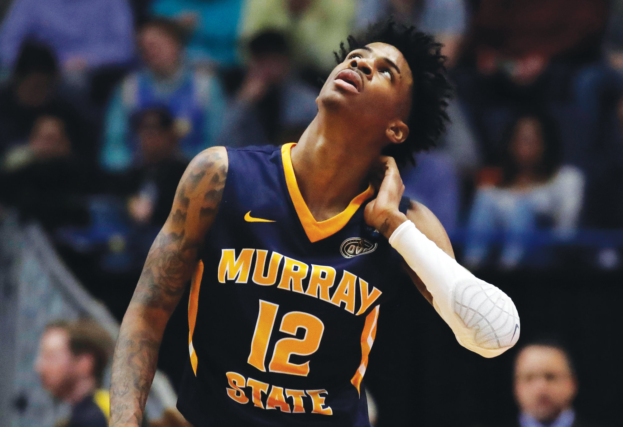 Murray State's Ja Morant (12) looks up at the scoreboard during the first half of the Racers' second round loss to Florida State in the NCAA men's basketball tournament in March. Morant is scheduled for knee surgery on Monday.