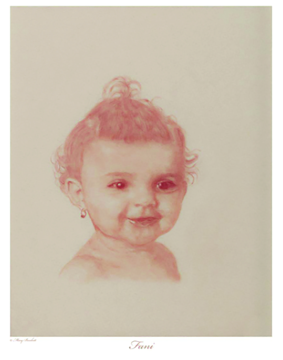 PHOTO PROVIDED  One of 27 drawings of children who were victims of the Holocaust is seen. The artist, Mary Burkett, will give a talk on the exhibition at the Temple Sinai Jewish History Center at 6 p.m. Thurrsday. Admission is free, and Thursday also marks the final day of the exhibition.