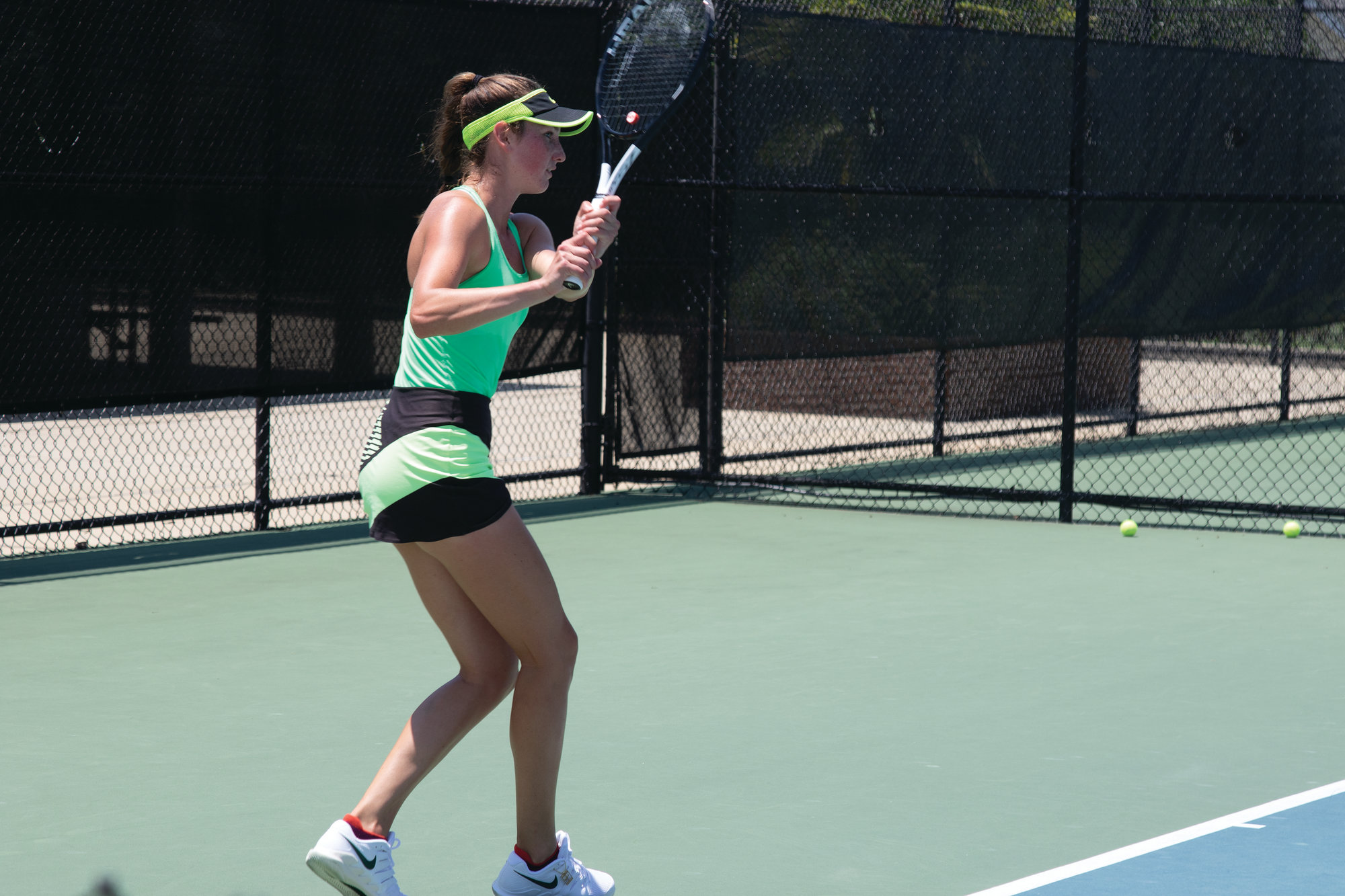 DANNY KELLY /   THE SUMTER ITEMCarson Branstine  returns a shot during her match against  Joelle Kissell in the qualifying round of the Palmetto Pro Open on Tuesday at Palmetto Tennis Center. Branstine won 7-5, 6-0, to advance to the main draw.