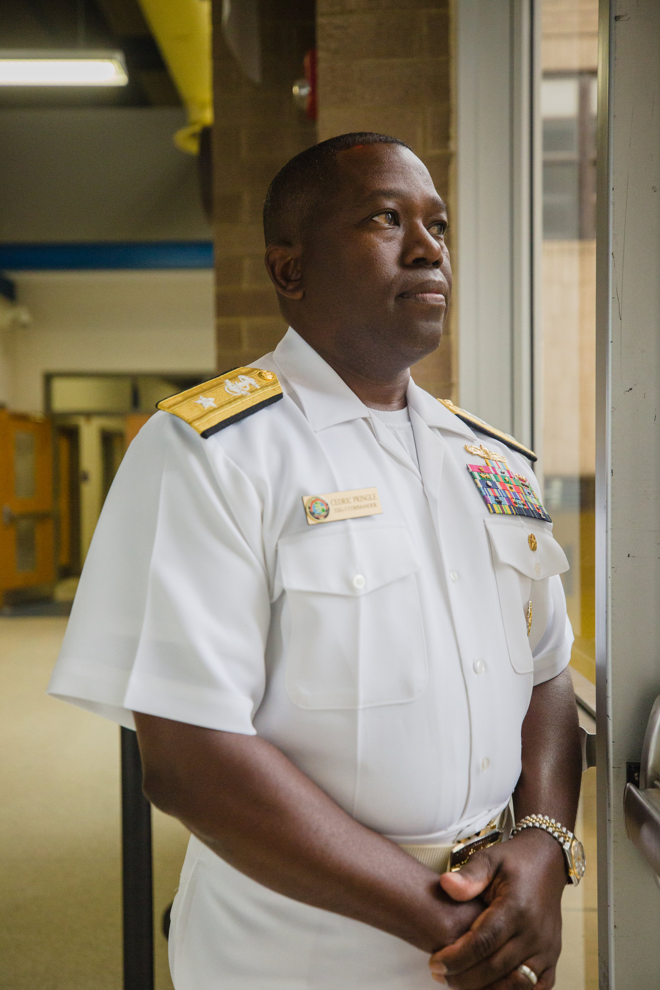 Rear Adm. Cedric Pringle visited Sumter High School, his alma mater, on Monday on a trip to promote careers in the Navy. He graduated from the school in 1986 and said students interested in STEM fields might be a good fit in the Navy.