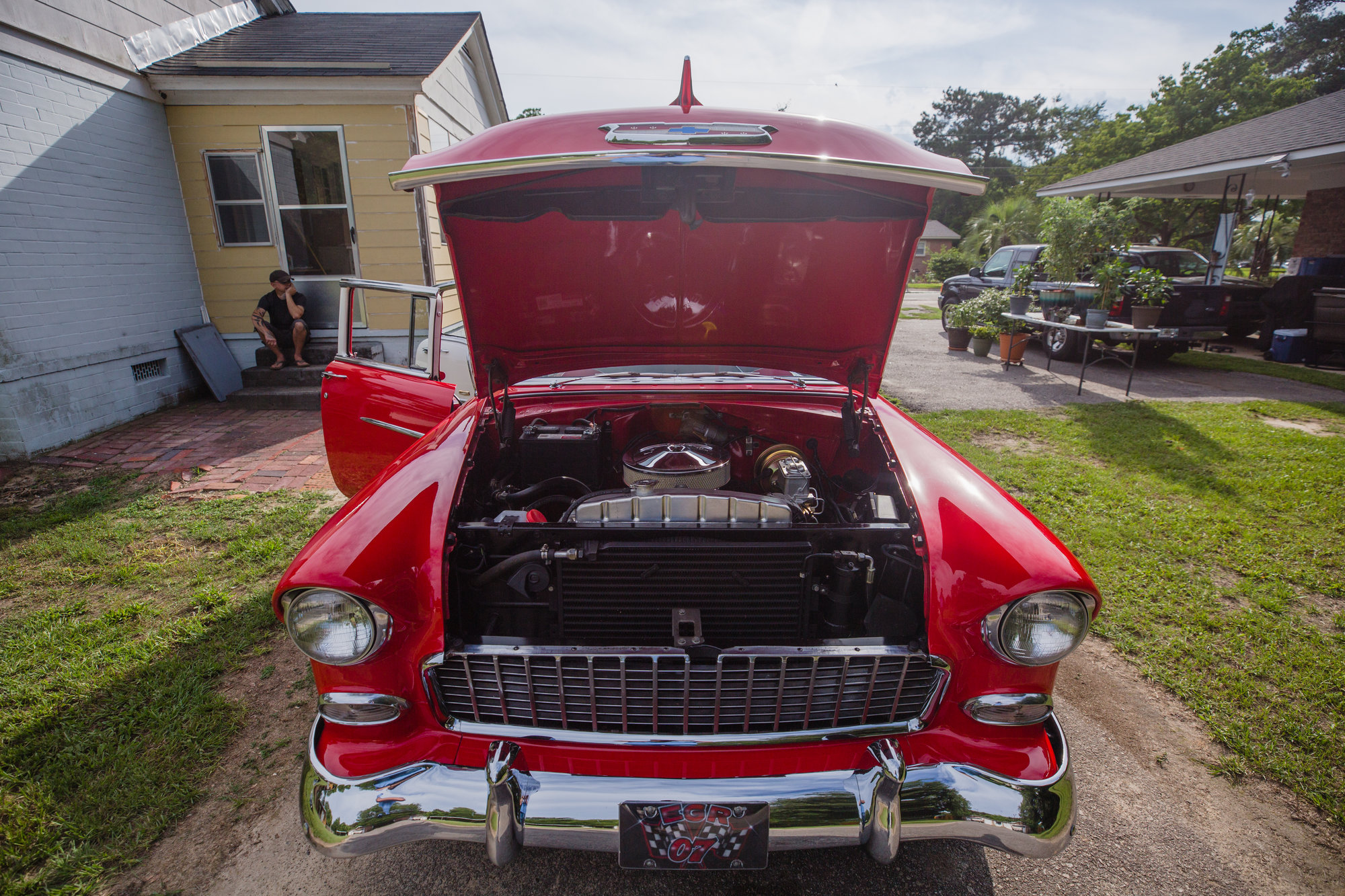 Harold Hodge's '55 Chevy Bel Air sits in the driveway of his son Glenn's house.