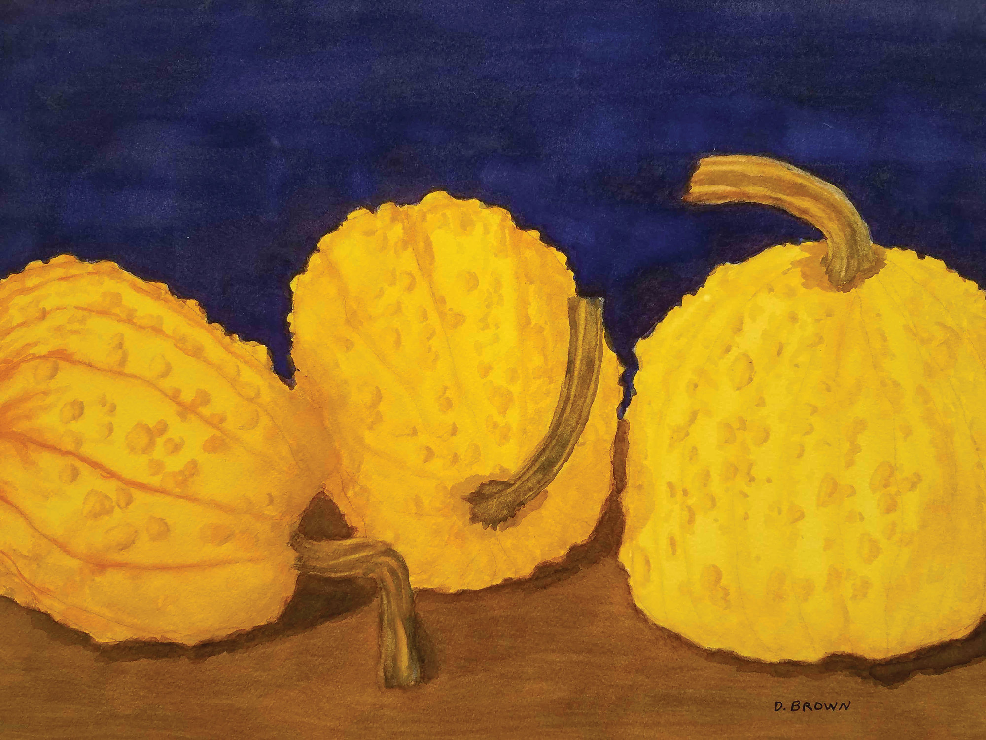 David Brown's three gourds painting is also part of the Sumter Artists Guild Show.