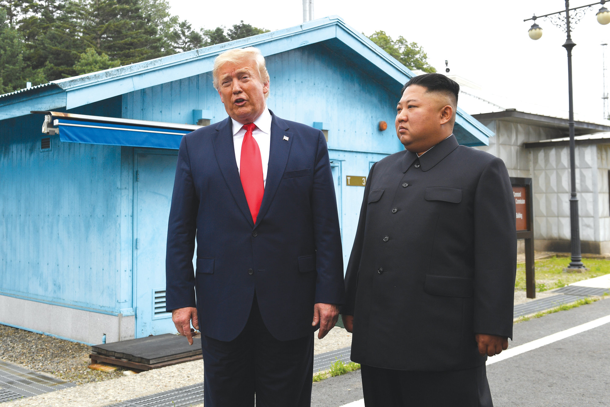 President Donald Trump meets with North Korean leader Kim Jong Un at the border village of Panmunjom in the Demilitarized Zone, South Korea, on June 30, 2019.