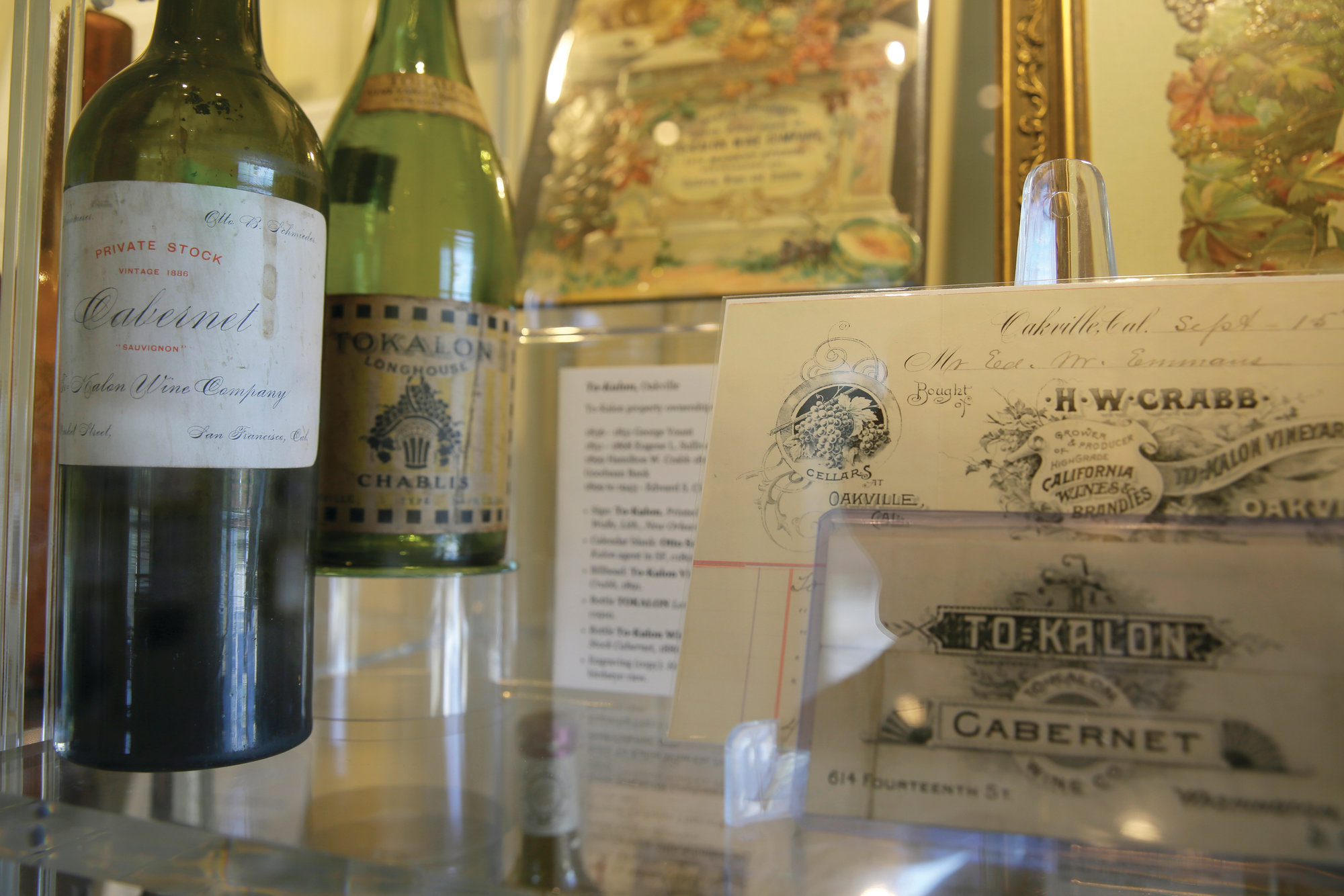 A display about the historic To Kalon Vineyard at 1881 Napa is seen.