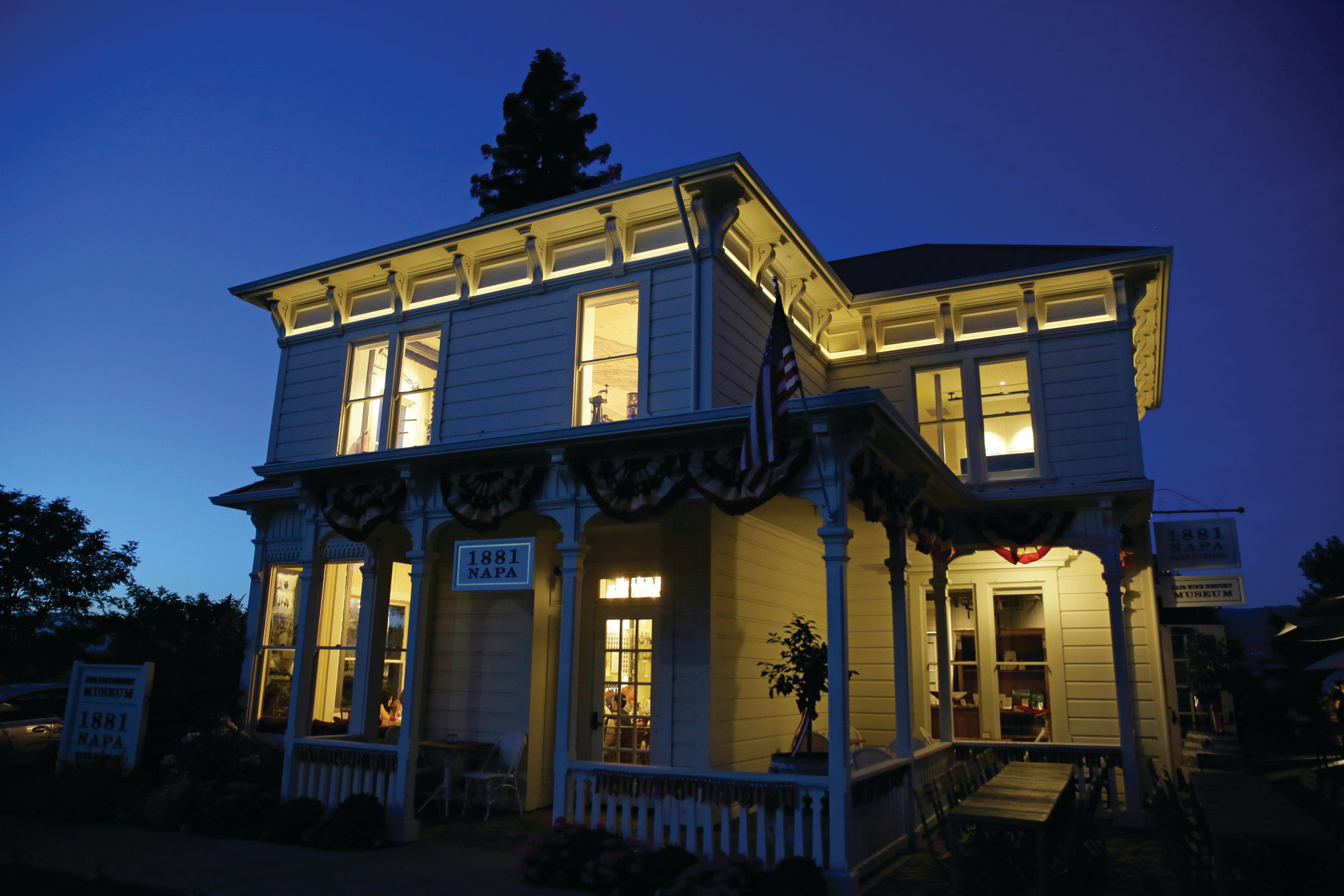 Dusk falls on 1881 Napa in Oakville, California.