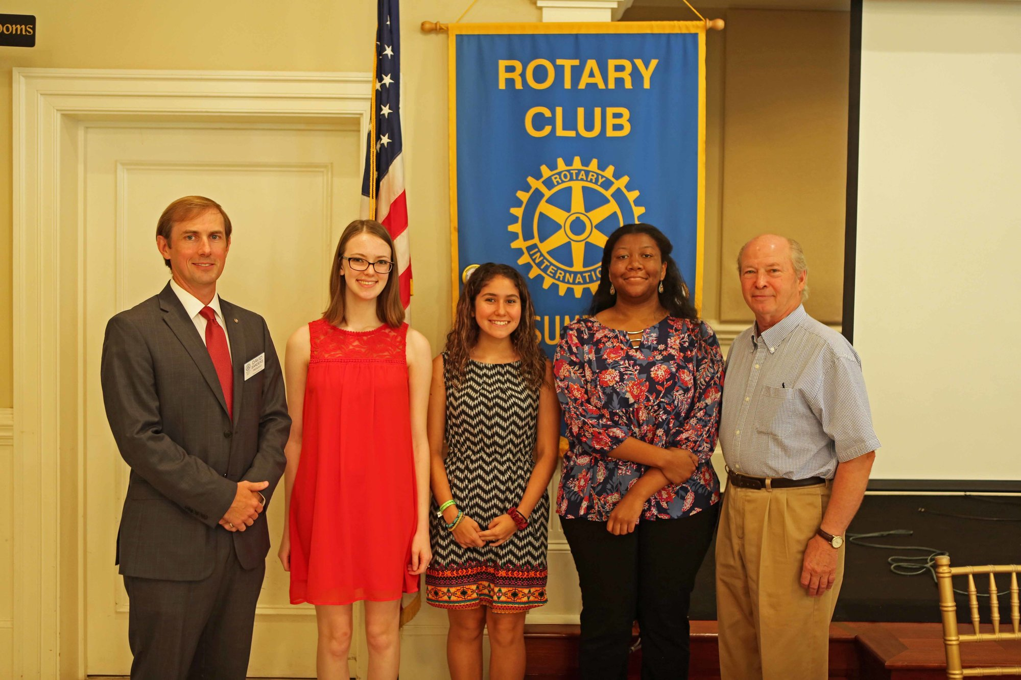 From left are David Sanders, president; Lauren Carneal; Sophia Houghton; Deja Lint; and Johnny Hilton. Absent from the photo is scholarship chairman Justin Johnson.