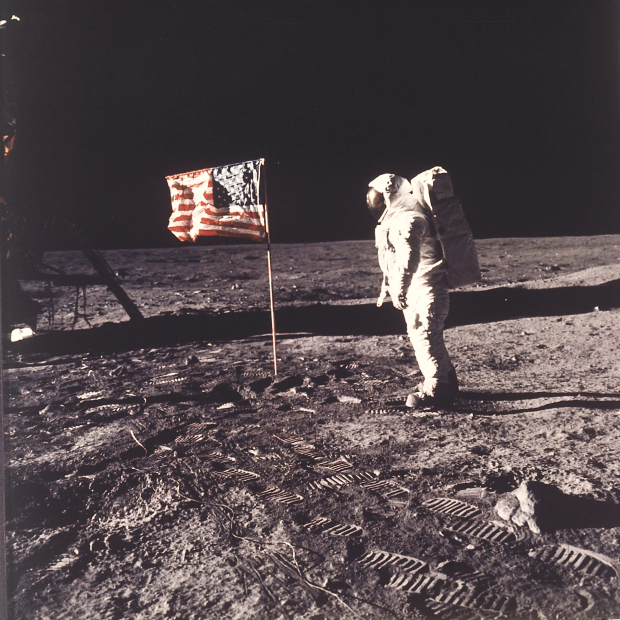 In this July 20, 1969, photo made available by NASA, astronaut Buzz Aldrin Jr. poses for a photograph beside the U.S. flag on the moon during the Apollo 11 mission. Aldrin and fellow astronaut Neil Armstrong were the first men to walk on the lunar surface with temperatures ranging from 243 degrees above to 279 degrees below zero. Astronaut Michael Collins flew the command module.