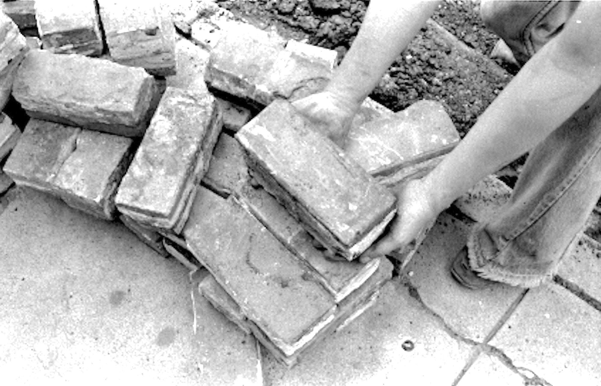 Brick pavers were used to pave downtown streets beginning in 1908.