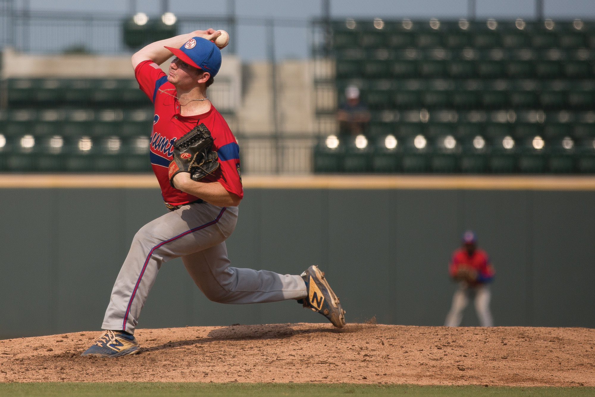 Jacob Holladay delivers a pitch in the P-15's 2-0 loss on Wednesday night.