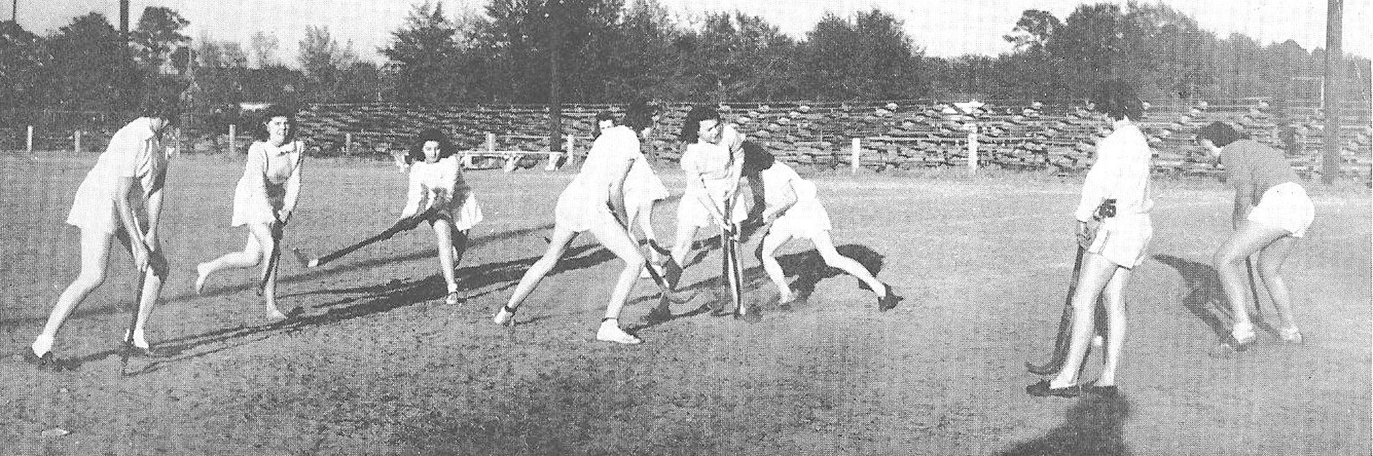 A girls team practices for field hockey finals in 1945. From left are Bernice King, Iris Harris, Sara Horovin, Lillie McCoy, Carolyn Brown, Lavinia Hubbard, Vilma Jackson, Betty Doverspike and Bertha Ross.