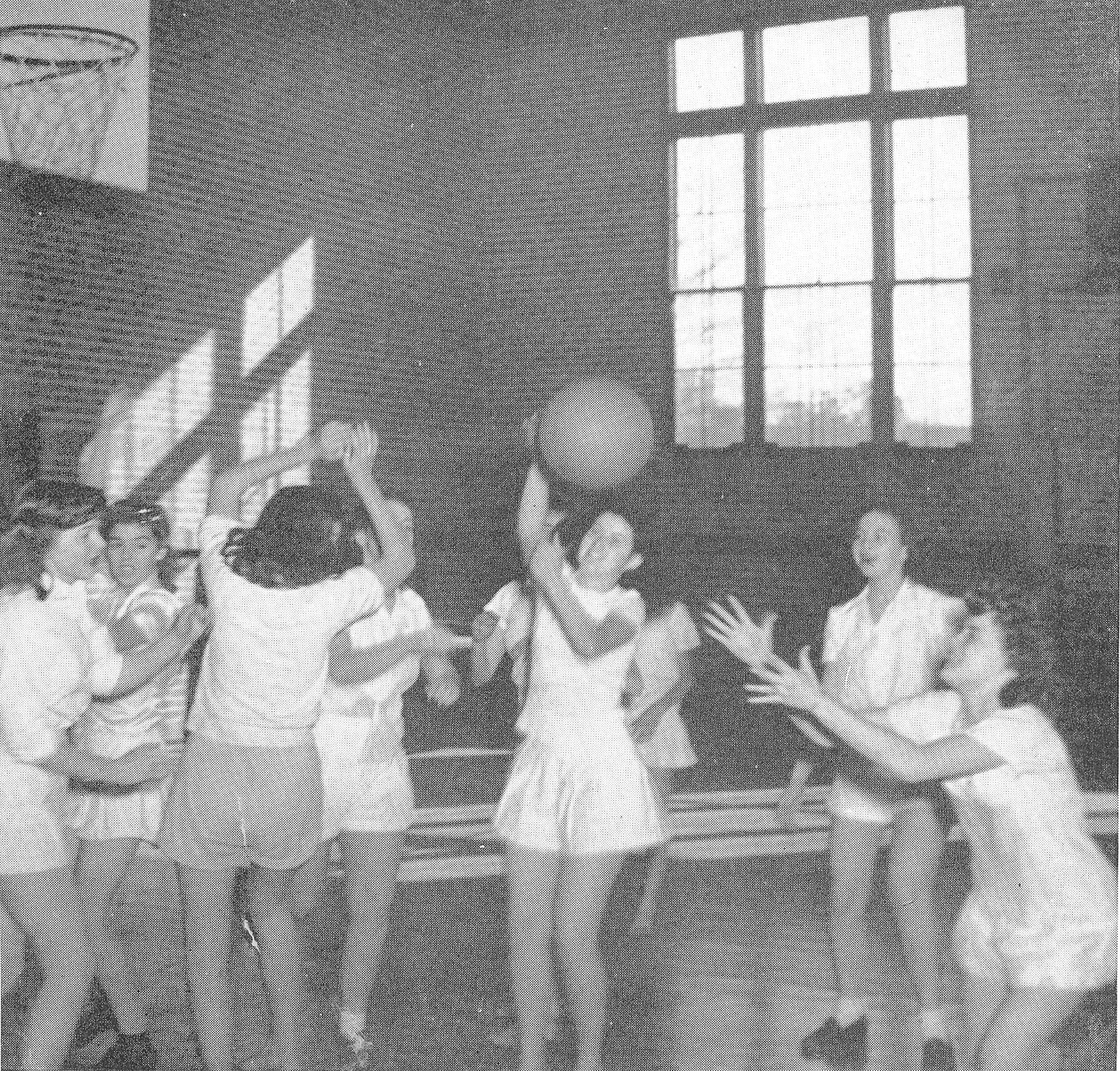 Senior SHS girls prepare for the class basketball games in 1945. From left are Jane Plowden, Iris Harris, Bertha Ross, Jean Boartfield, Carolyn Brown, Sara Horovin, Lillie McCoy, Lavinia Hubbard and Betty Doverspike.