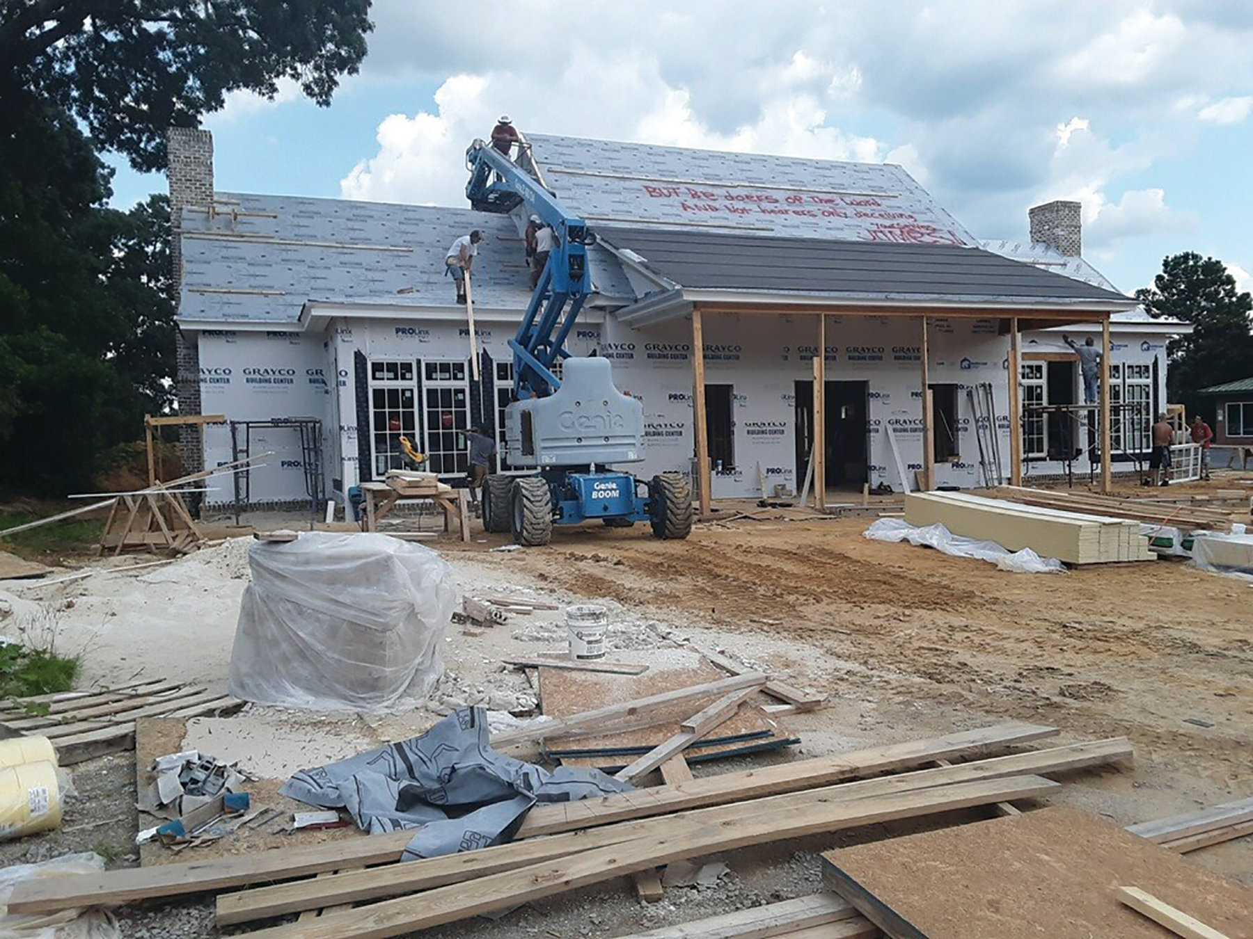 BRUCE MILLS  / THE SUMTER ITEM  Workers continue construction of Carolina Grove restaurant earlier this week at 1077 Alice Drive.