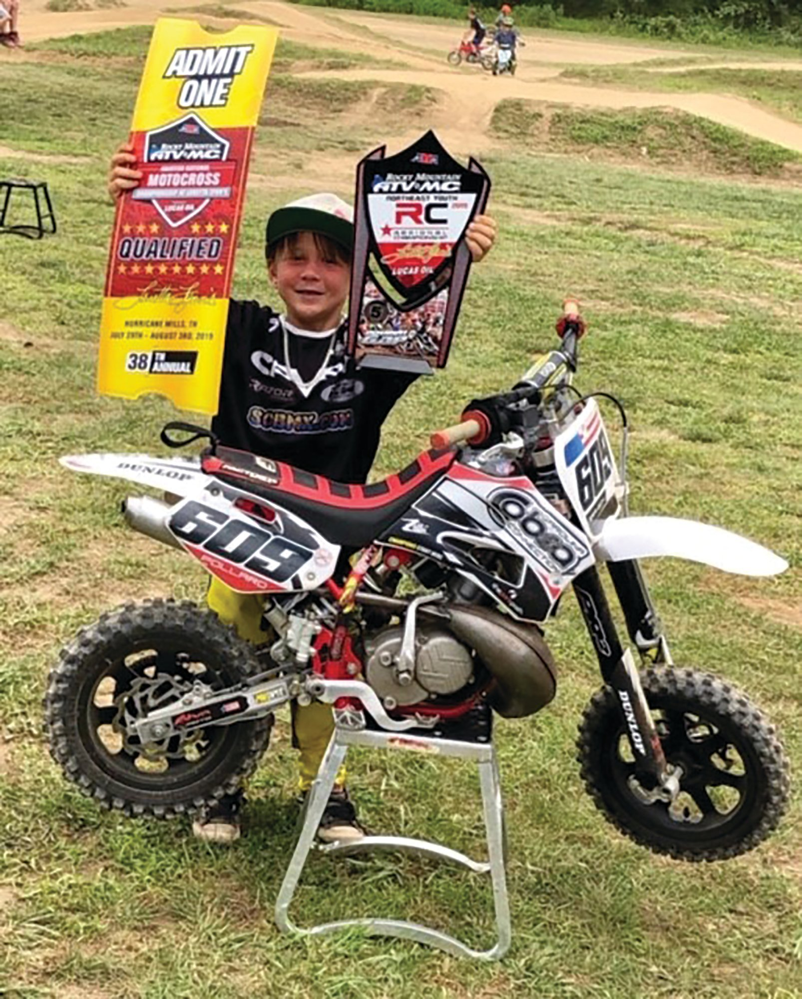 "PHOTOS PROVIDEDWilliam ""Branson"" Pollard displays the tickets he received for earning a berth in the 38th Annual Rocky Mountain ATV/MC AMA Amateur National Motocross Championship."