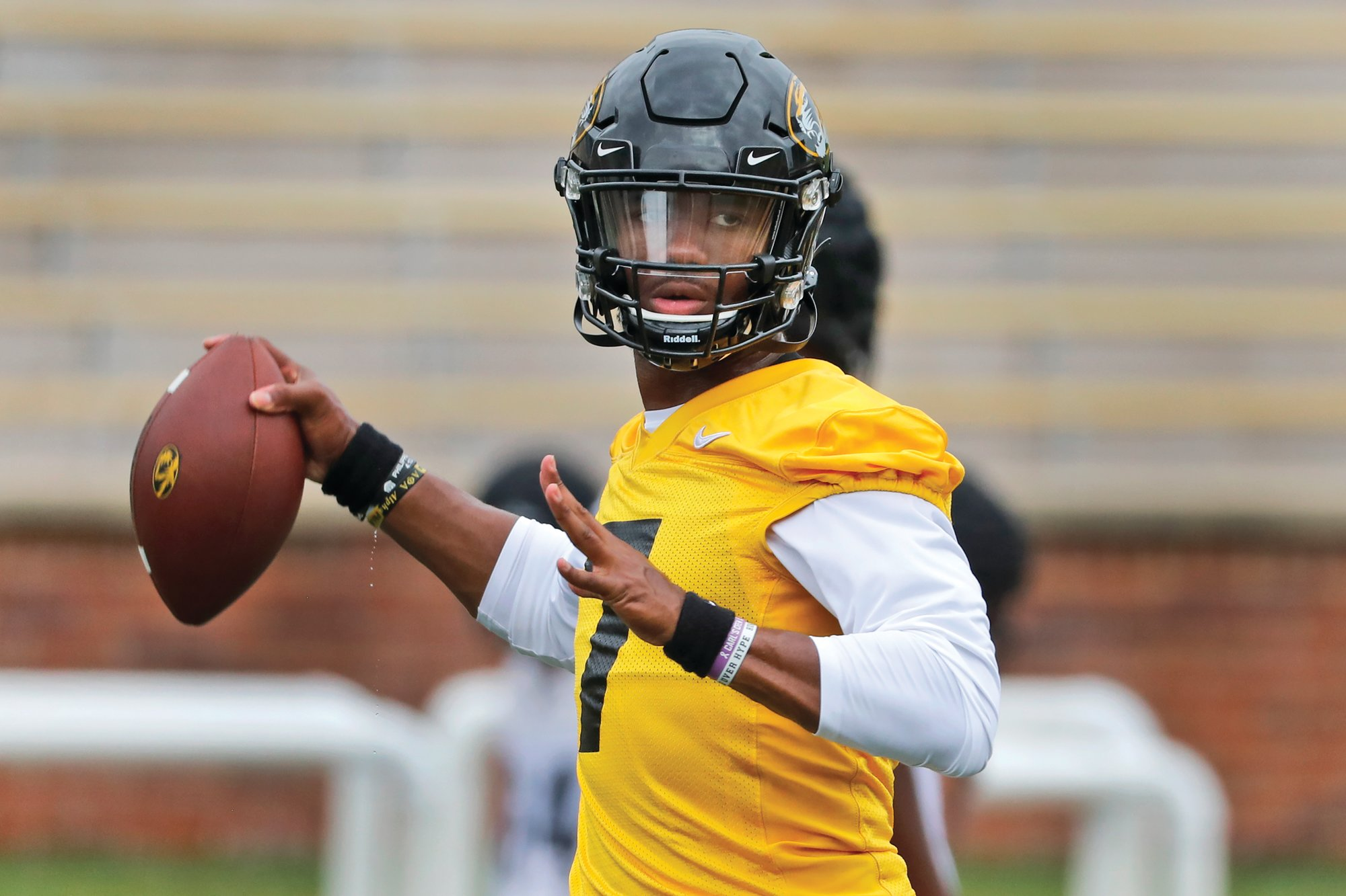 THE ASSOCIATED PRESS  Missouri quarterback Kelly Bryant throws during a practice in Columbia, Missouri. Bryant came to Missouri as a graduate transfer from Clemson University.