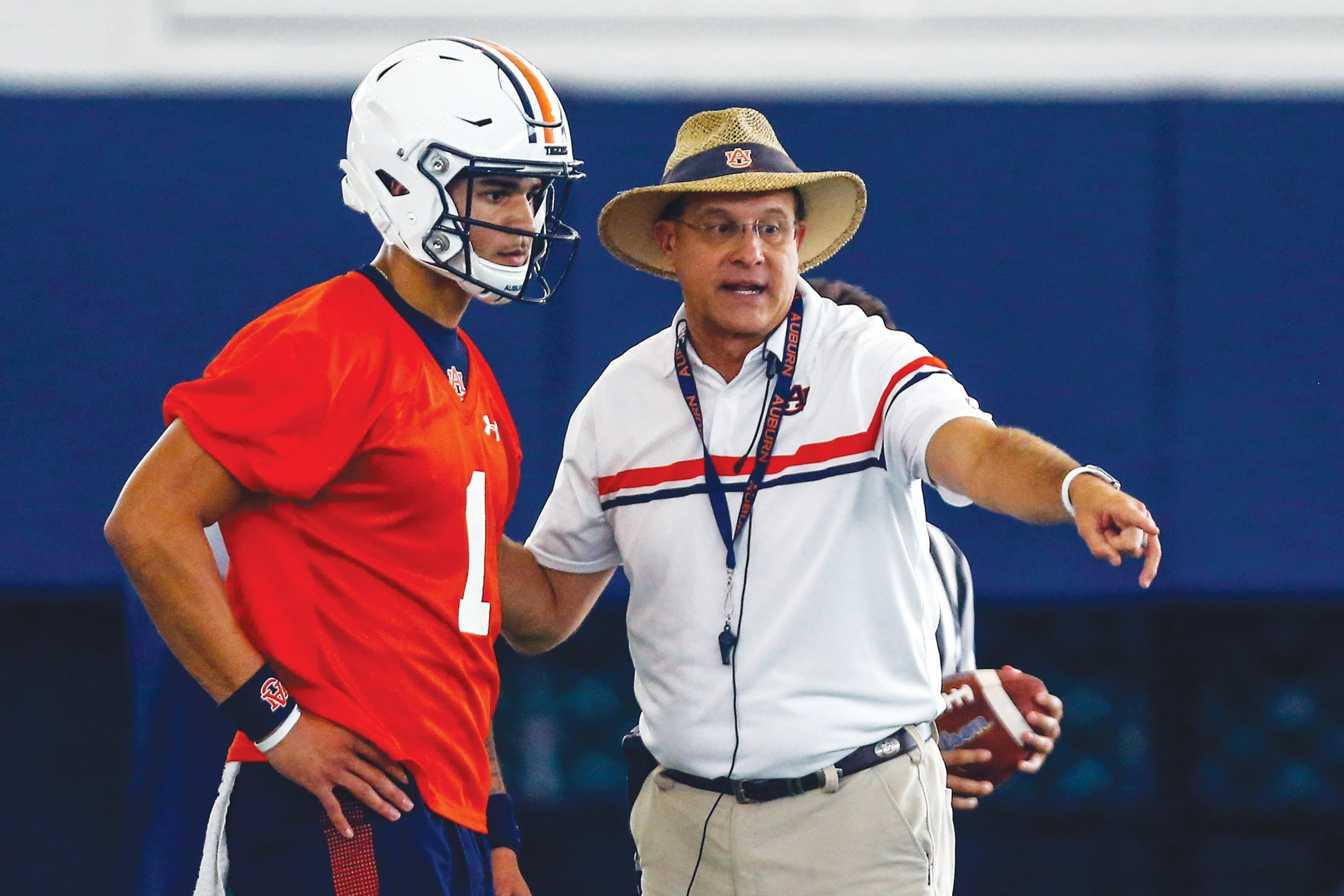 THE ASSOCIATED PRESS Gus Malzahn, right, is among the college football coaches on the hot seat heading into the 2019 season.
