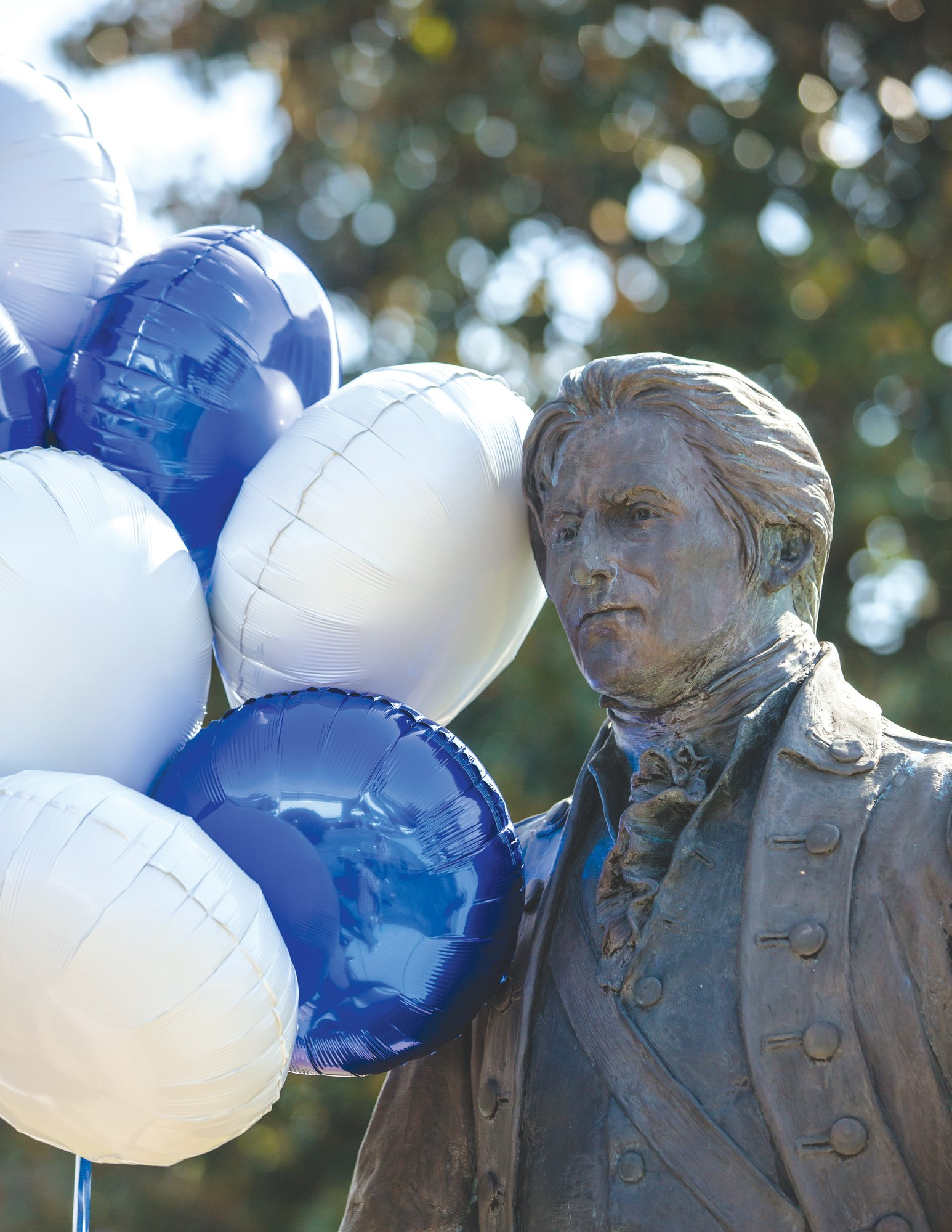 The statue of Thomas Sumter is adorned with ballons on Wednesday during his 285th birthday celebration.