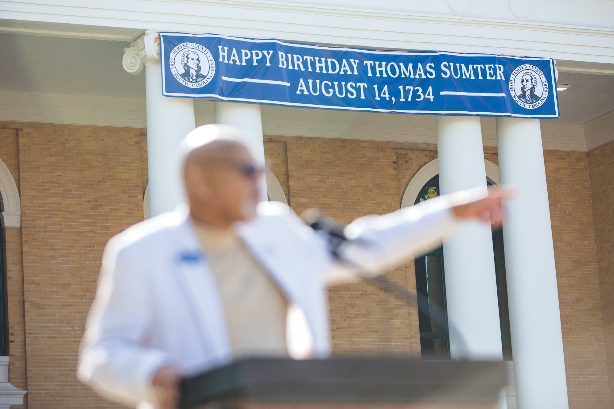 Sumter County Council Chairman Jim McCain gestures during his speech to a crowd about Gen. Thomas Sumter.