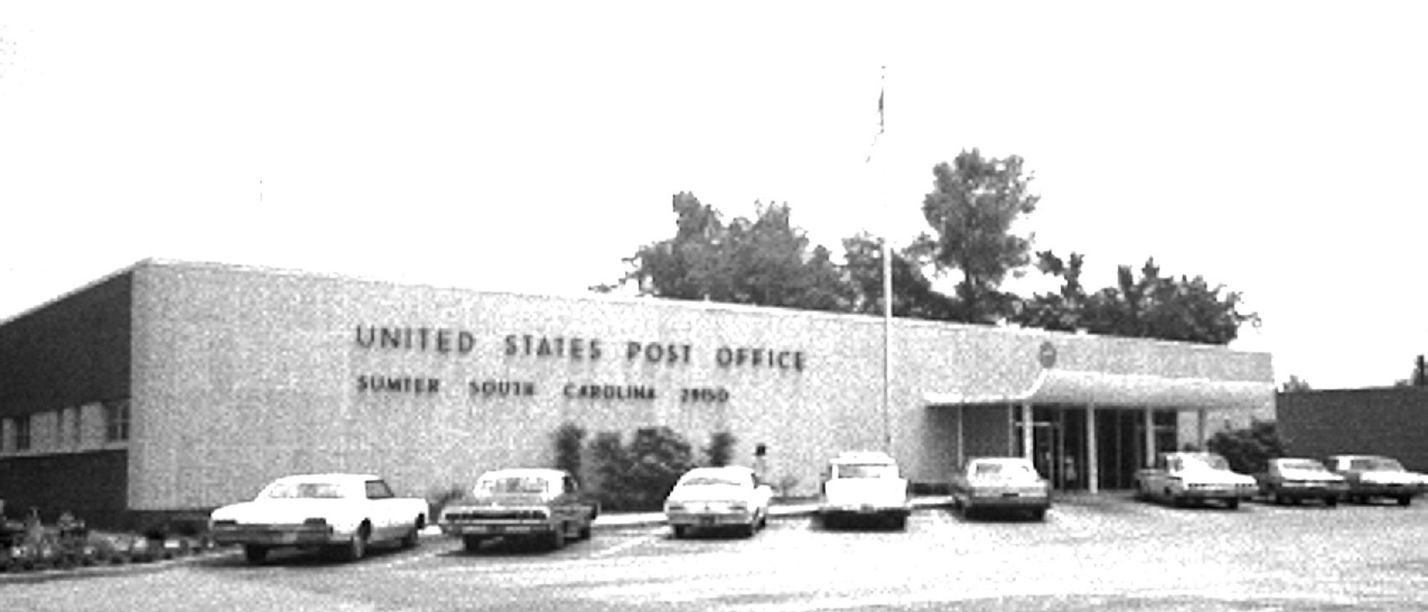 The Sumter post office is seen in its final location, on North Main Street across from First Presbyterian Church downtown, in 1970. It was dedicated in May 1965 in honor of Rep. John J. Riley and Sen. Olin D. Johnston.