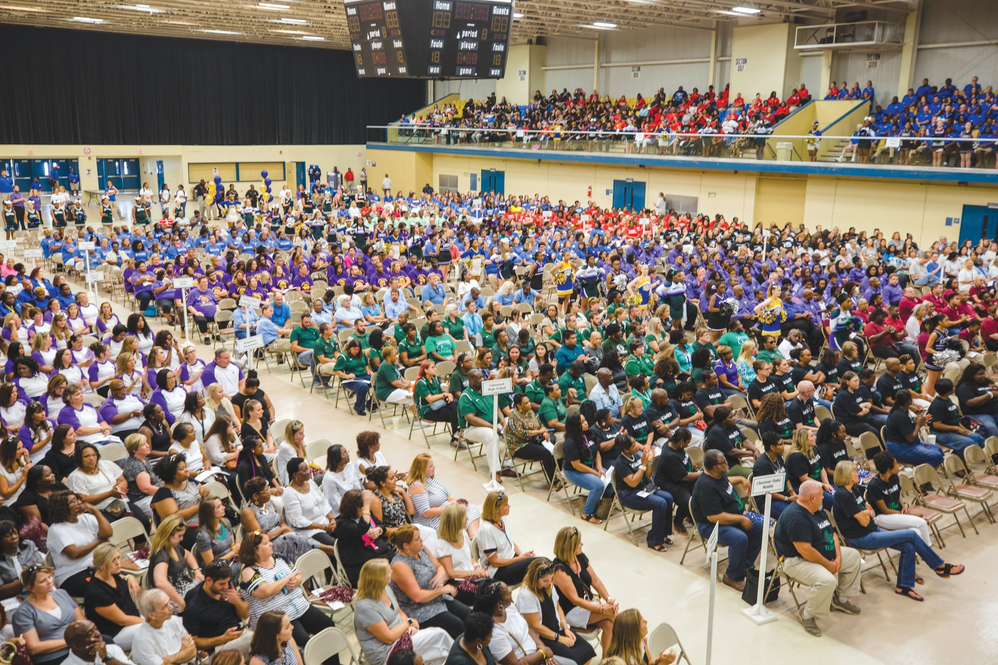 Scenes from the first meeting for the Sumter School District and teacher pep rally at the Sumter Civic Center on Friday.