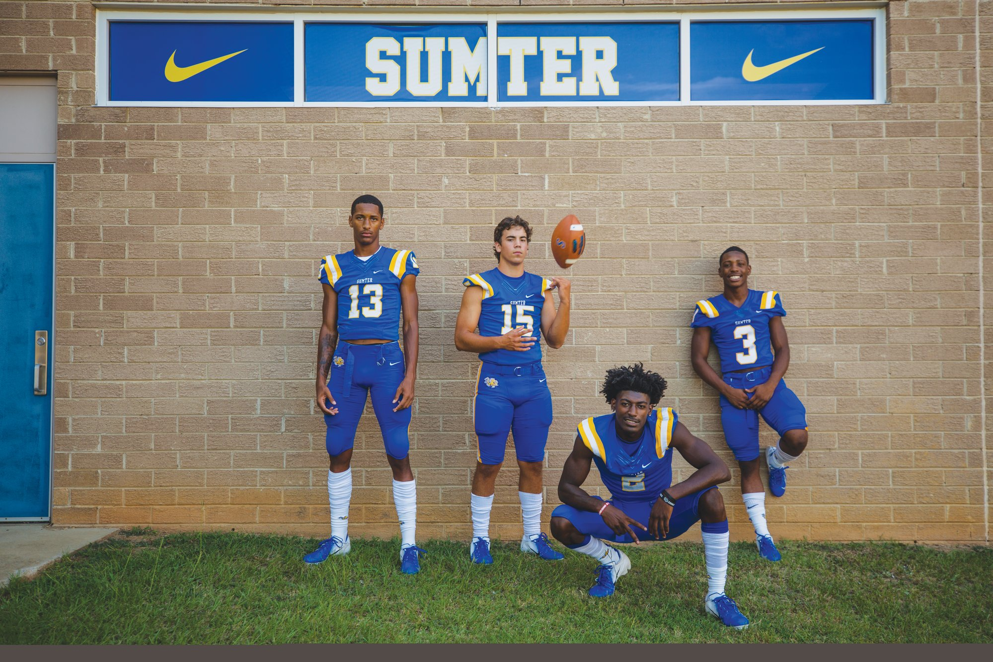 (From left to right) Tylee Craft, Hayden Vazquez, O'Donnell Fortune and Tony Dinkins-McCall pose outside of Sumter High.